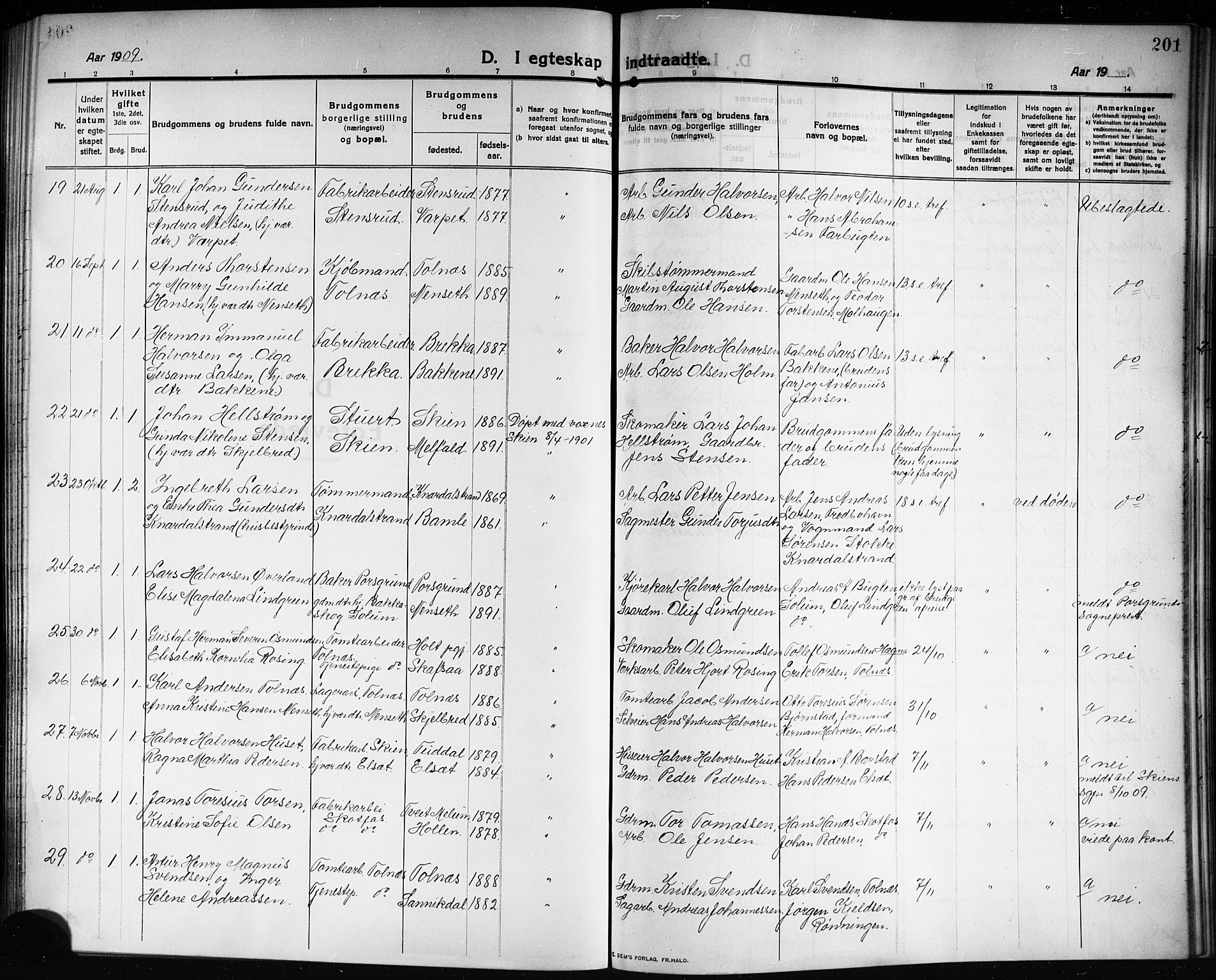 SAKO, Solum kirkebøker, G/Ga/L0009: Klokkerbok nr. I 9, 1909-1922, s. 201