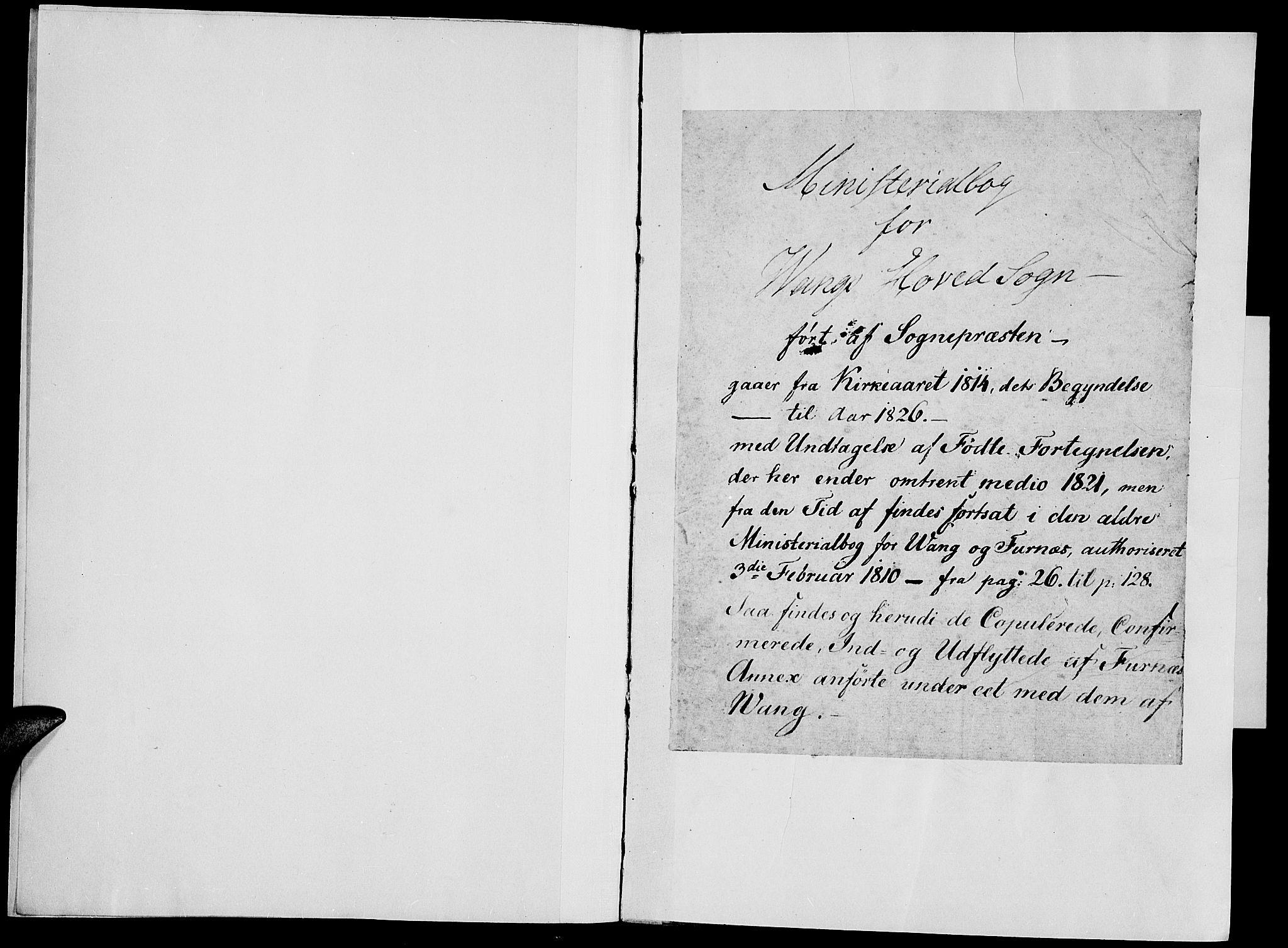 SAH, Vang prestekontor, Hedmark, H/Ha/Haa/L0007: Ministerialbok nr. 7, 1813-1826