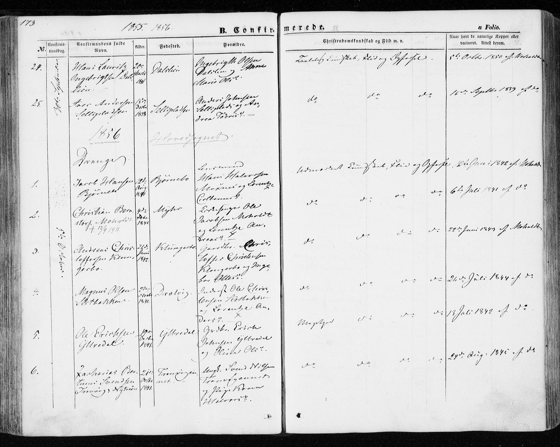 SAT, Ministerialprotokoller, klokkerbøker og fødselsregistre - Nord-Trøndelag, 701/L0008: Ministerialbok nr. 701A08 /1, 1854-1863, s. 173