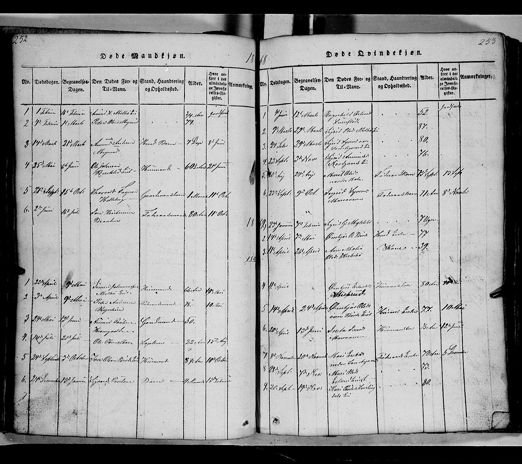 SAH, Gausdal prestekontor, Klokkerbok nr. 2, 1818-1874, s. 252-253