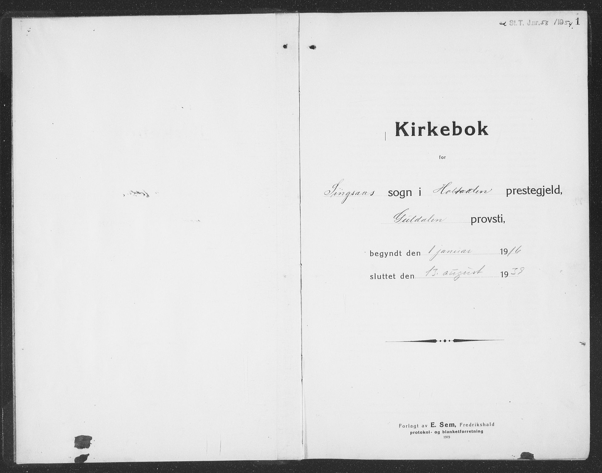 SAT, Ministerialprotokoller, klokkerbøker og fødselsregistre - Sør-Trøndelag, 688/L1030: Klokkerbok nr. 688C05, 1916-1939, s. 1