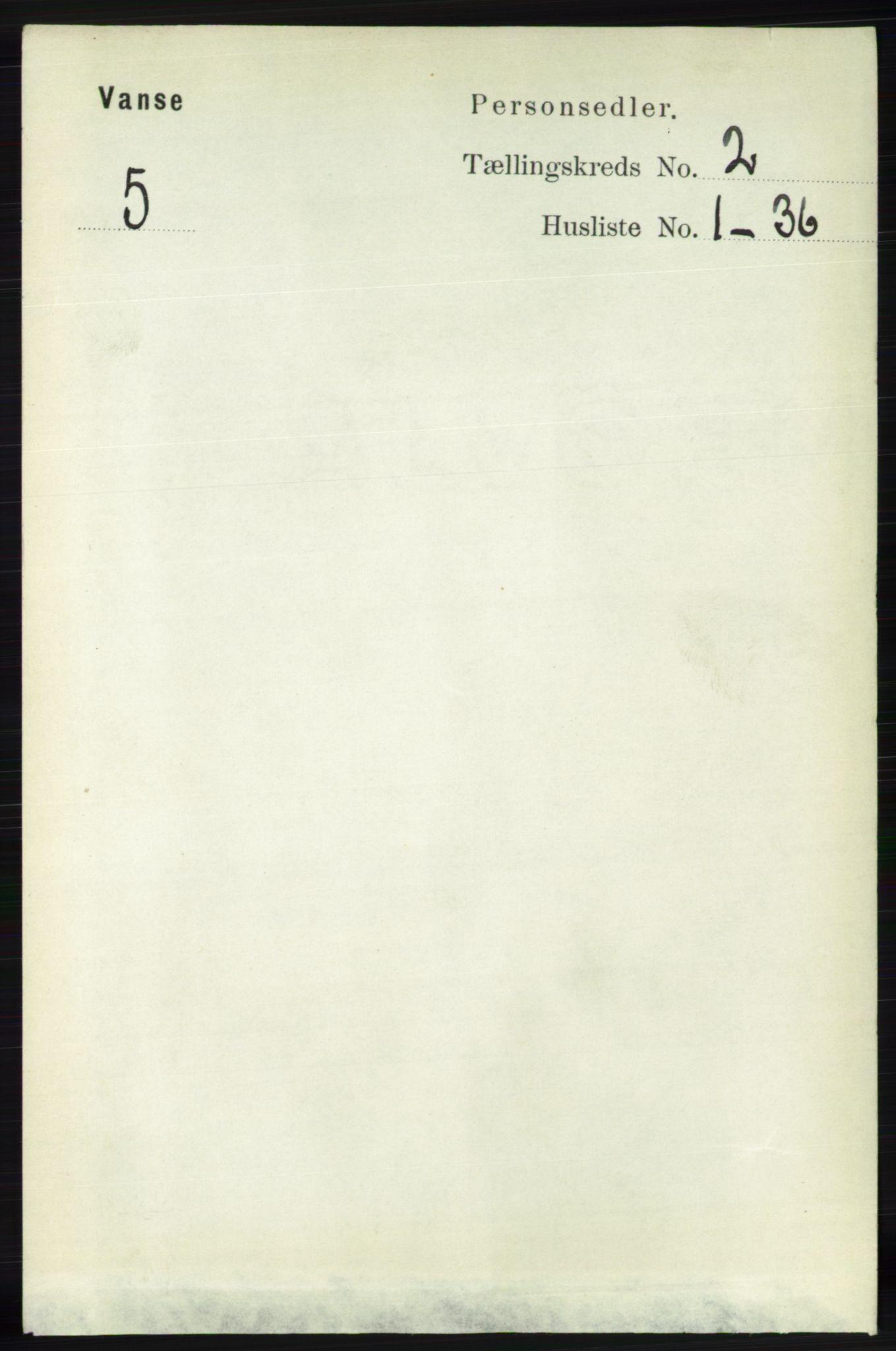 RA, Folketelling 1891 for 1041 Vanse herred, 1891, s. 603