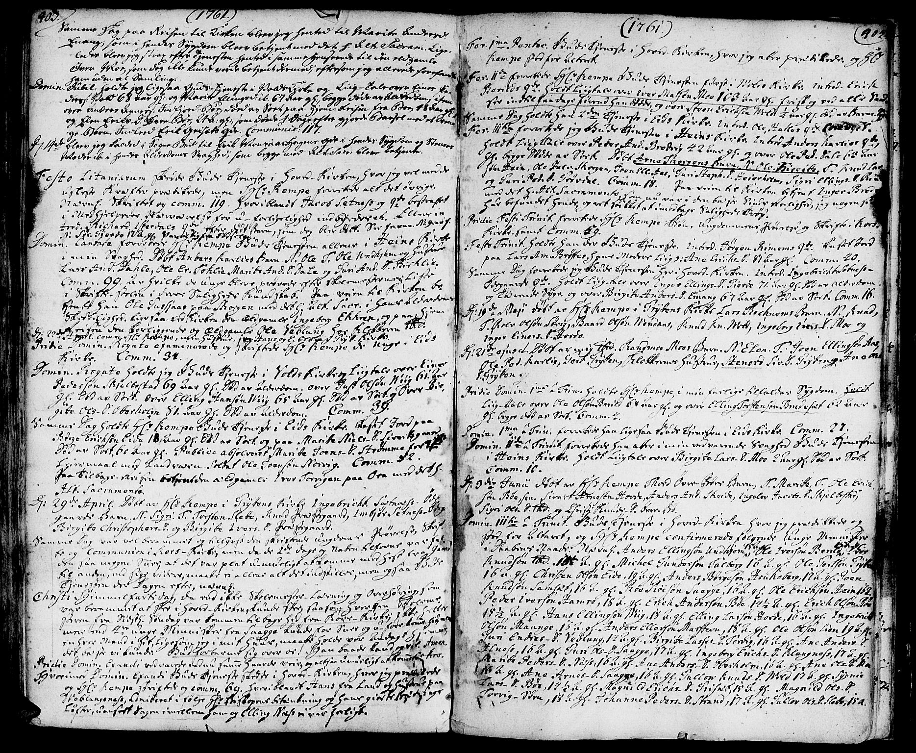 SAT, Ministerialprotokoller, klokkerbøker og fødselsregistre - Møre og Romsdal, 544/L0568: Ministerialbok nr. 544A01, 1725-1763, s. 403-404