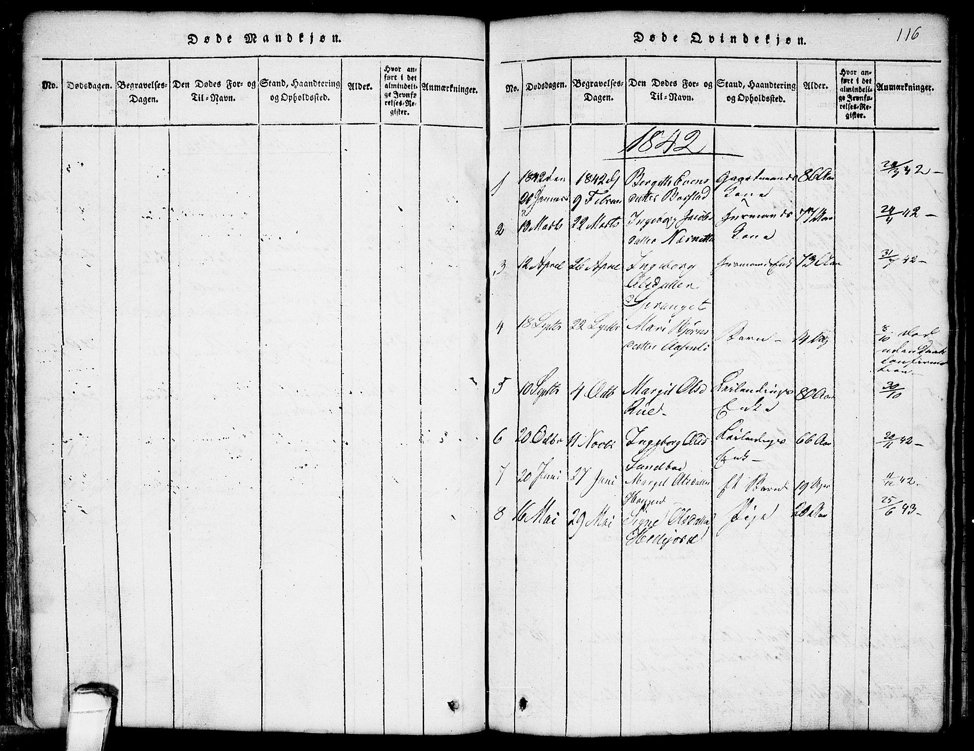 SAKO, Seljord kirkebøker, G/Gb/L0002: Klokkerbok nr. II 2, 1815-1854, s. 116
