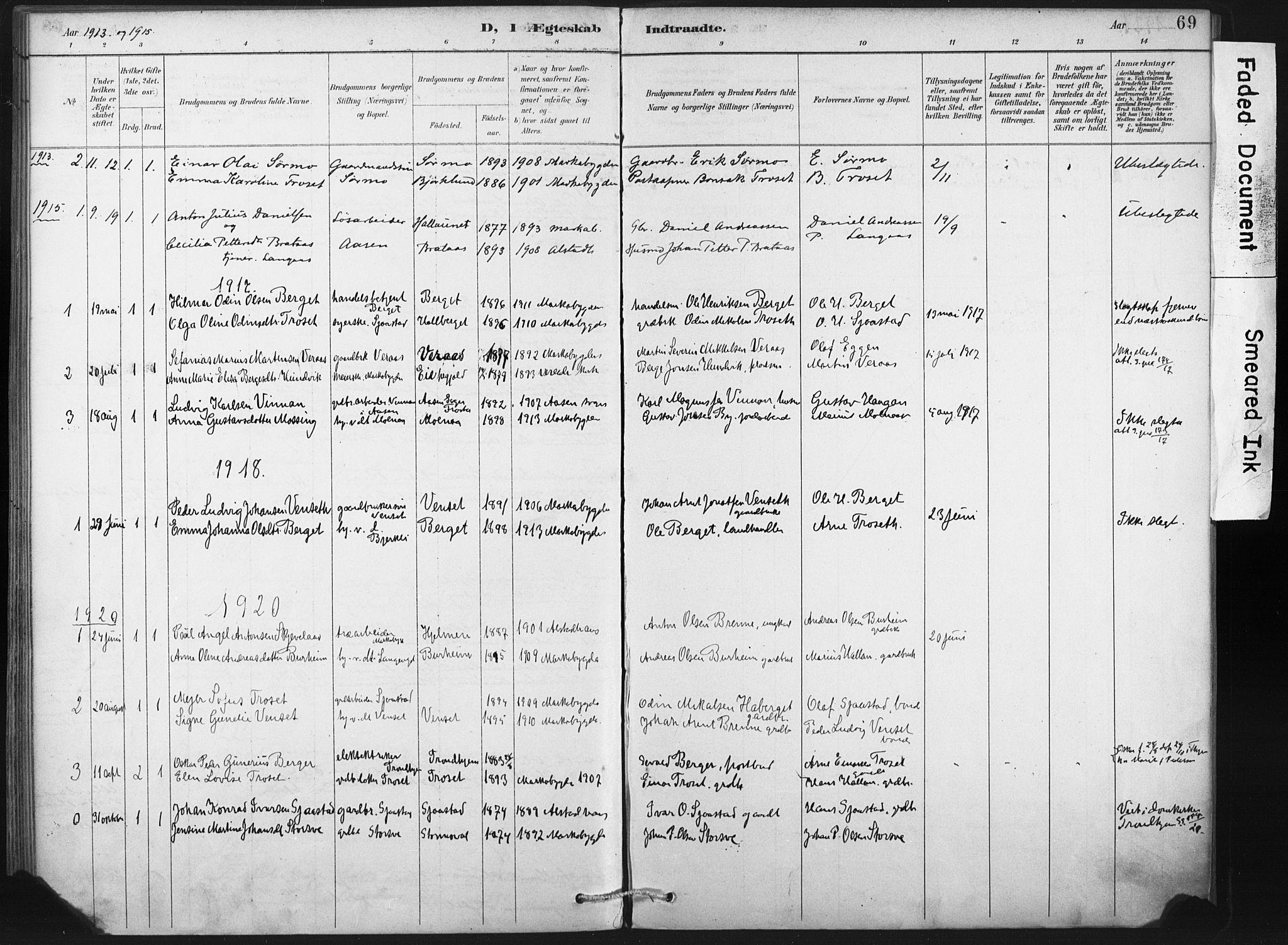 SAT, Ministerialprotokoller, klokkerbøker og fødselsregistre - Nord-Trøndelag, 718/L0175: Ministerialbok nr. 718A01, 1890-1923, s. 69