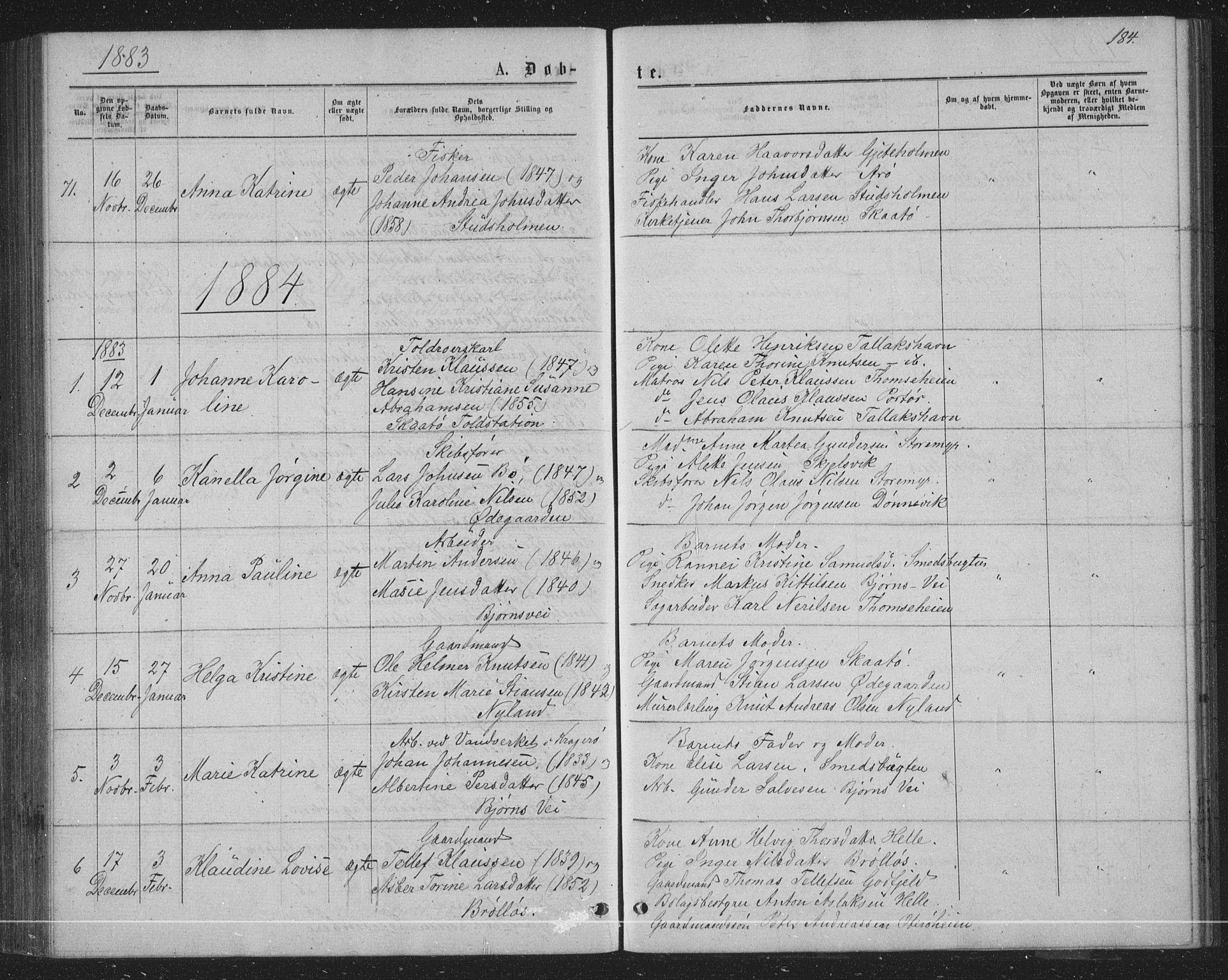 SAKO, Skåtøy kirkebøker, G/Ga/L0002: Klokkerbok nr. I 2, 1872-1884, s. 184