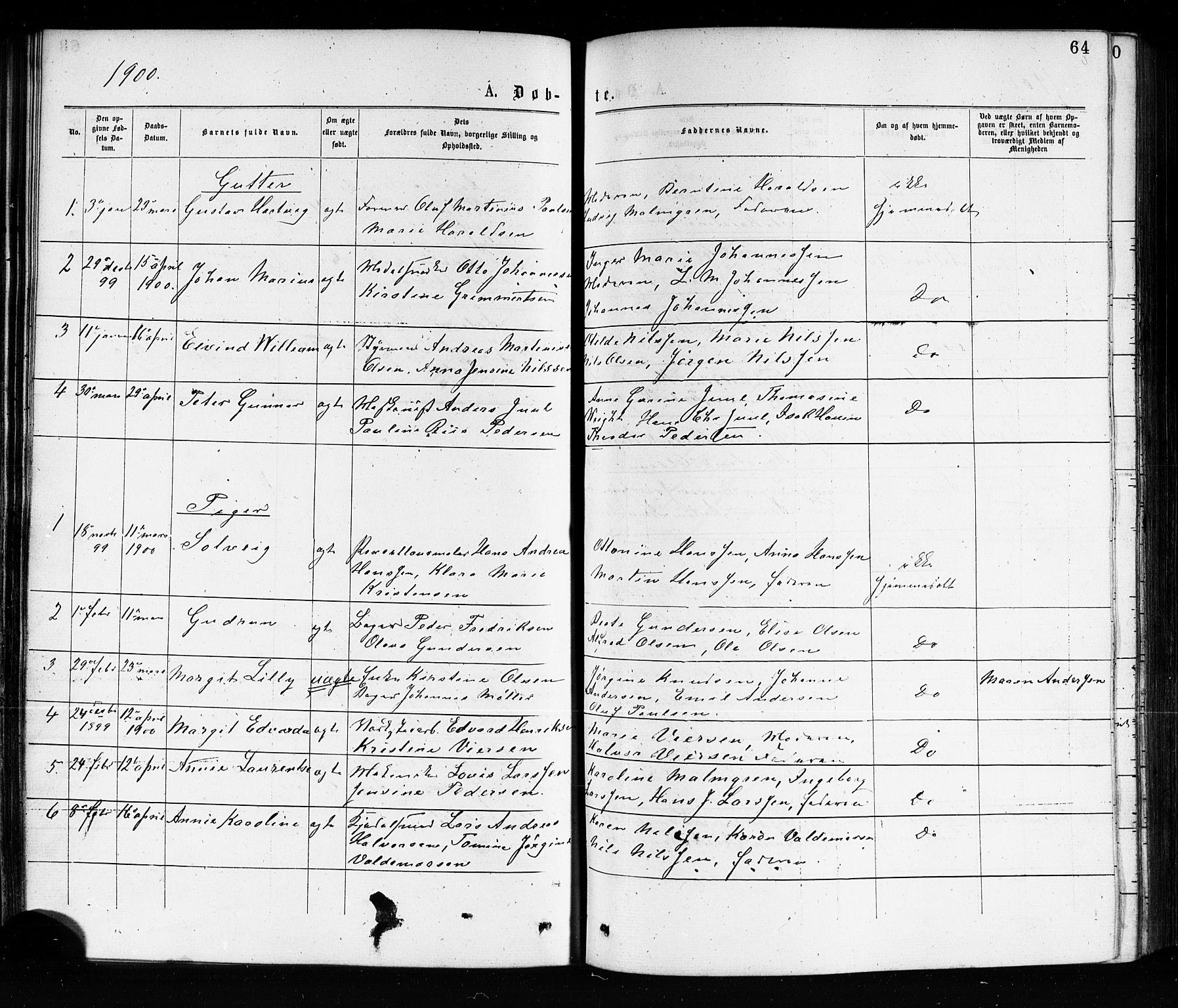 SAKO, Porsgrunn kirkebøker , G/Ga/L0003: Klokkerbok nr. I 3, 1877-1915, s. 64