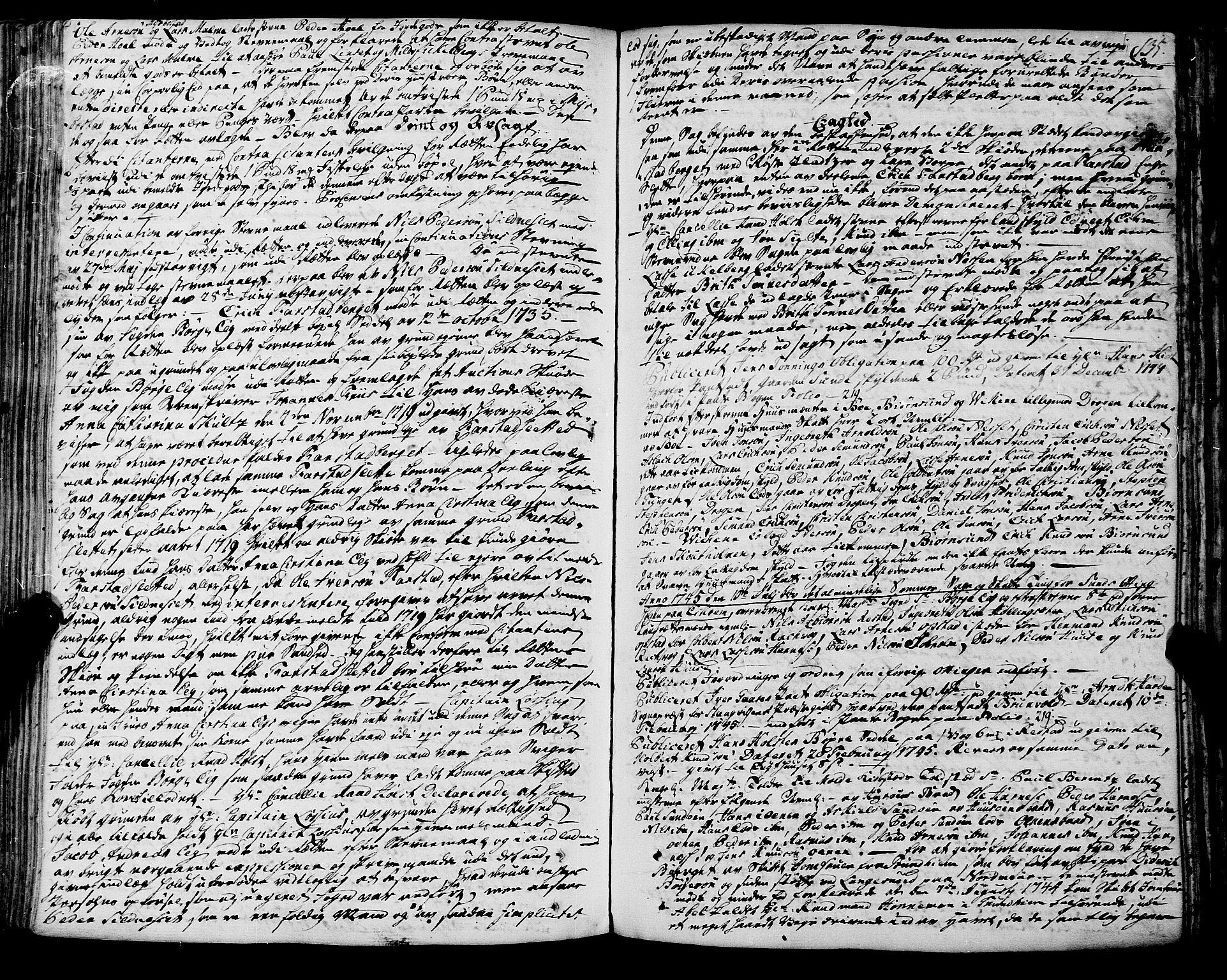 SAT, Romsdal sorenskriveri, 1/1A/L0012: Tingbok, 1740-1749, s. 134b-135a