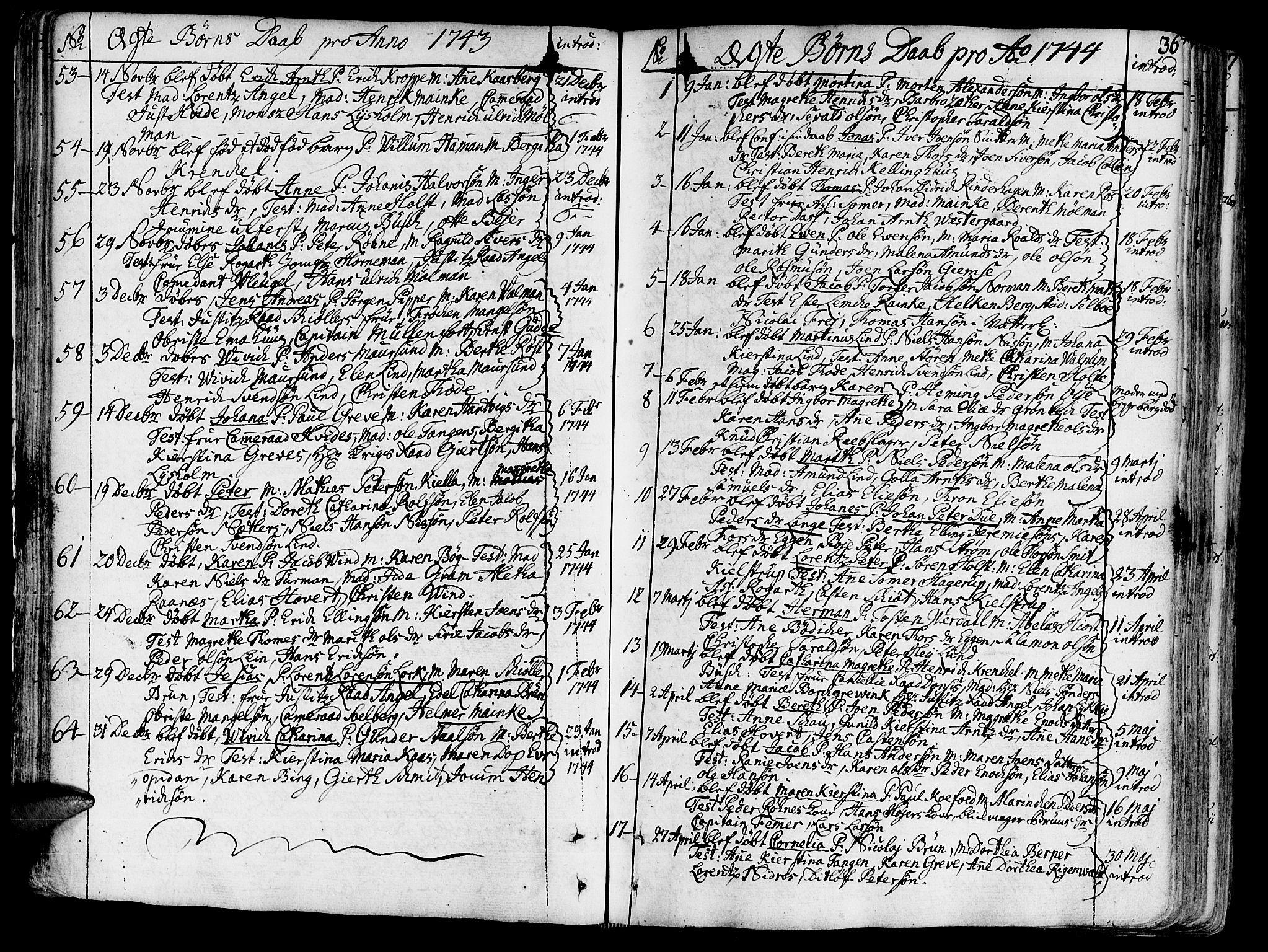 SAT, Ministerialprotokoller, klokkerbøker og fødselsregistre - Sør-Trøndelag, 602/L0103: Ministerialbok nr. 602A01, 1732-1774, s. 36