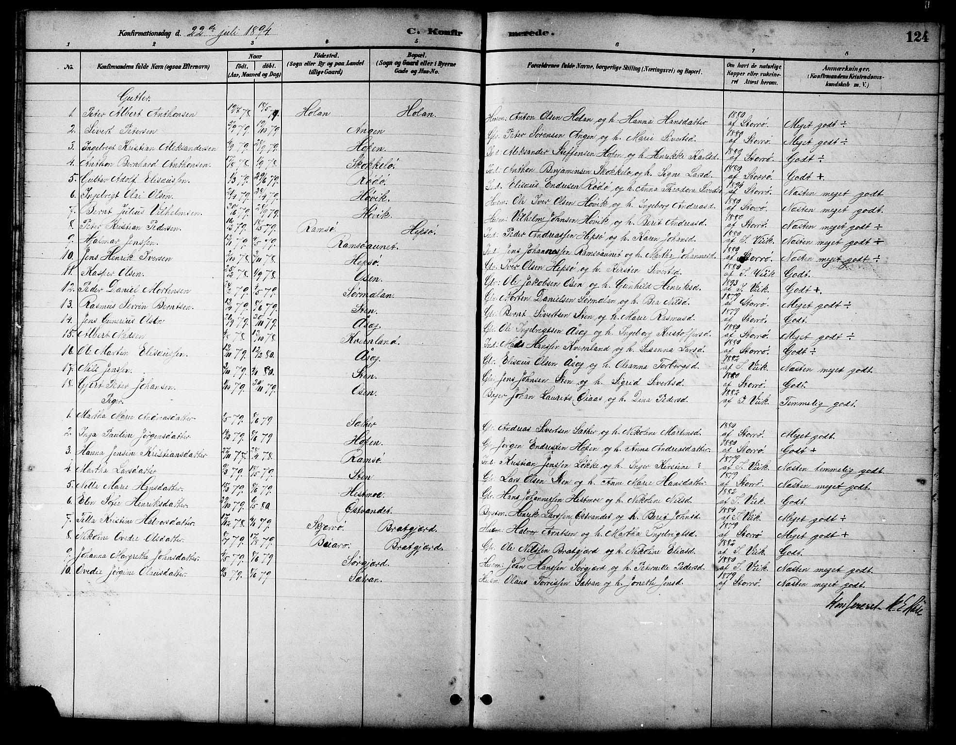 SAT, Ministerialprotokoller, klokkerbøker og fødselsregistre - Sør-Trøndelag, 658/L0726: Klokkerbok nr. 658C02, 1883-1908, s. 124