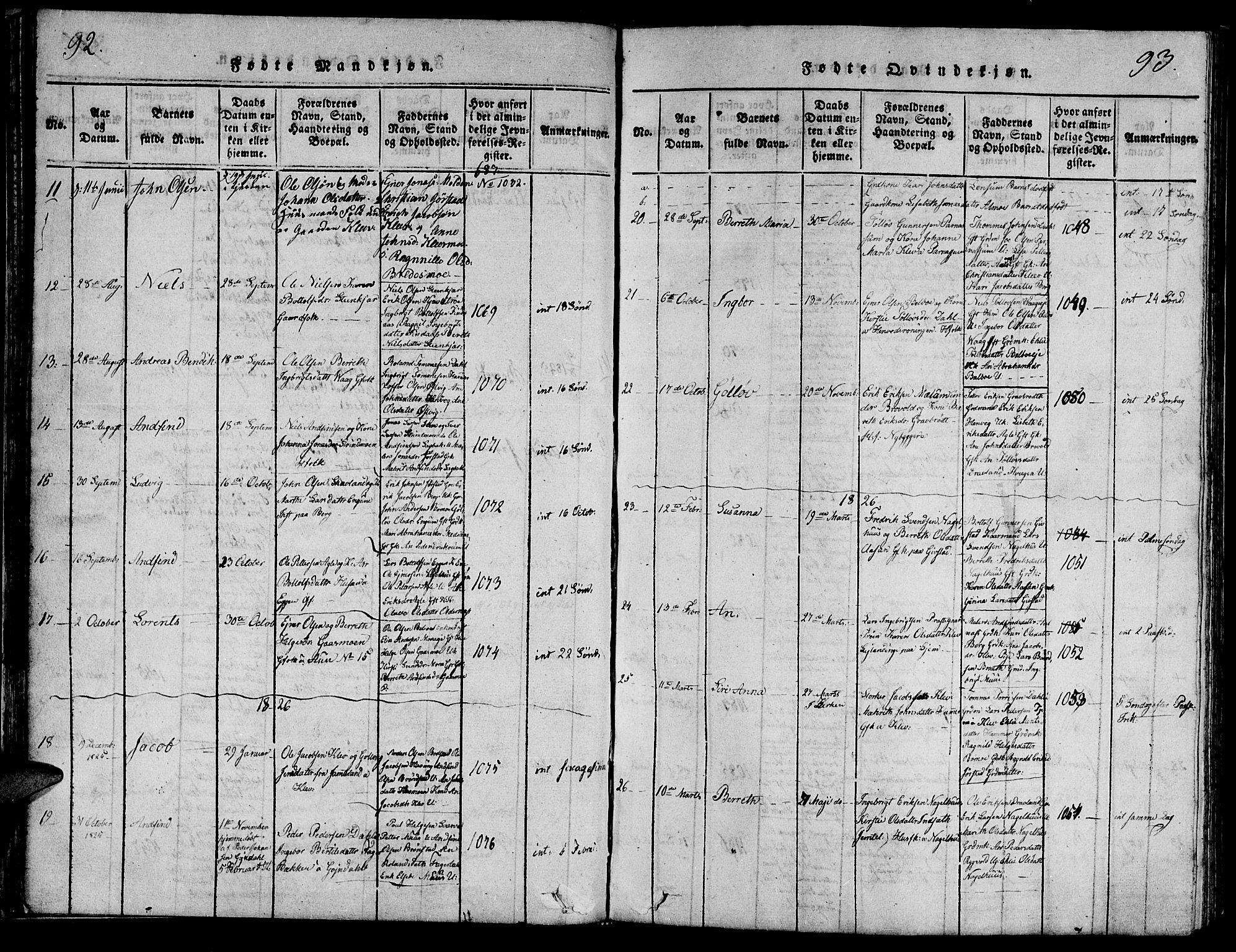 SAT, Ministerialprotokoller, klokkerbøker og fødselsregistre - Nord-Trøndelag, 749/L0479: Klokkerbok nr. 749C01, 1817-1829, s. 92-93
