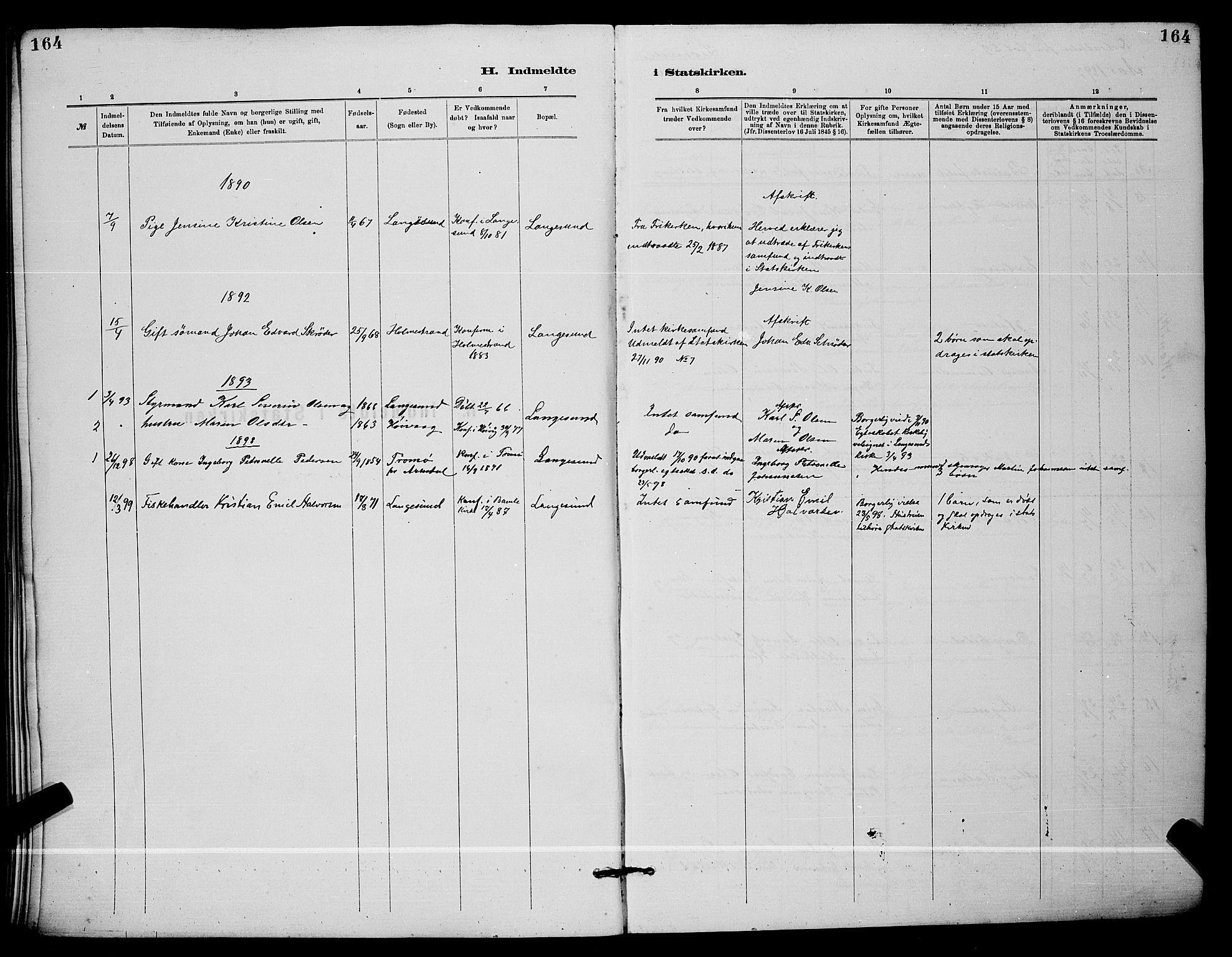 SAKO, Langesund kirkebøker, G/Ga/L0005: Klokkerbok nr. 5, 1884-1898, s. 164