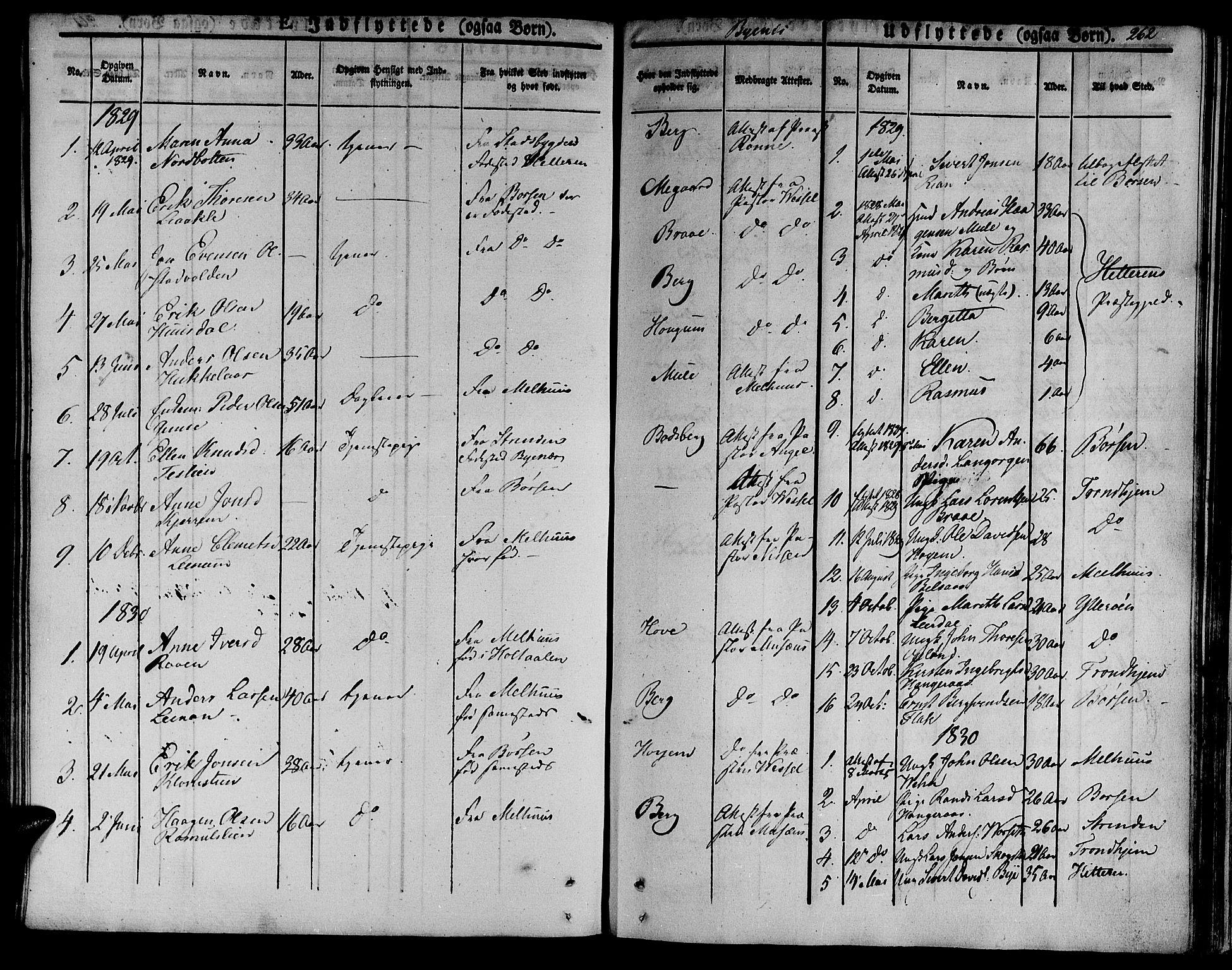 SAT, Ministerialprotokoller, klokkerbøker og fødselsregistre - Sør-Trøndelag, 612/L0374: Ministerialbok nr. 612A07 /1, 1829-1845, s. 262