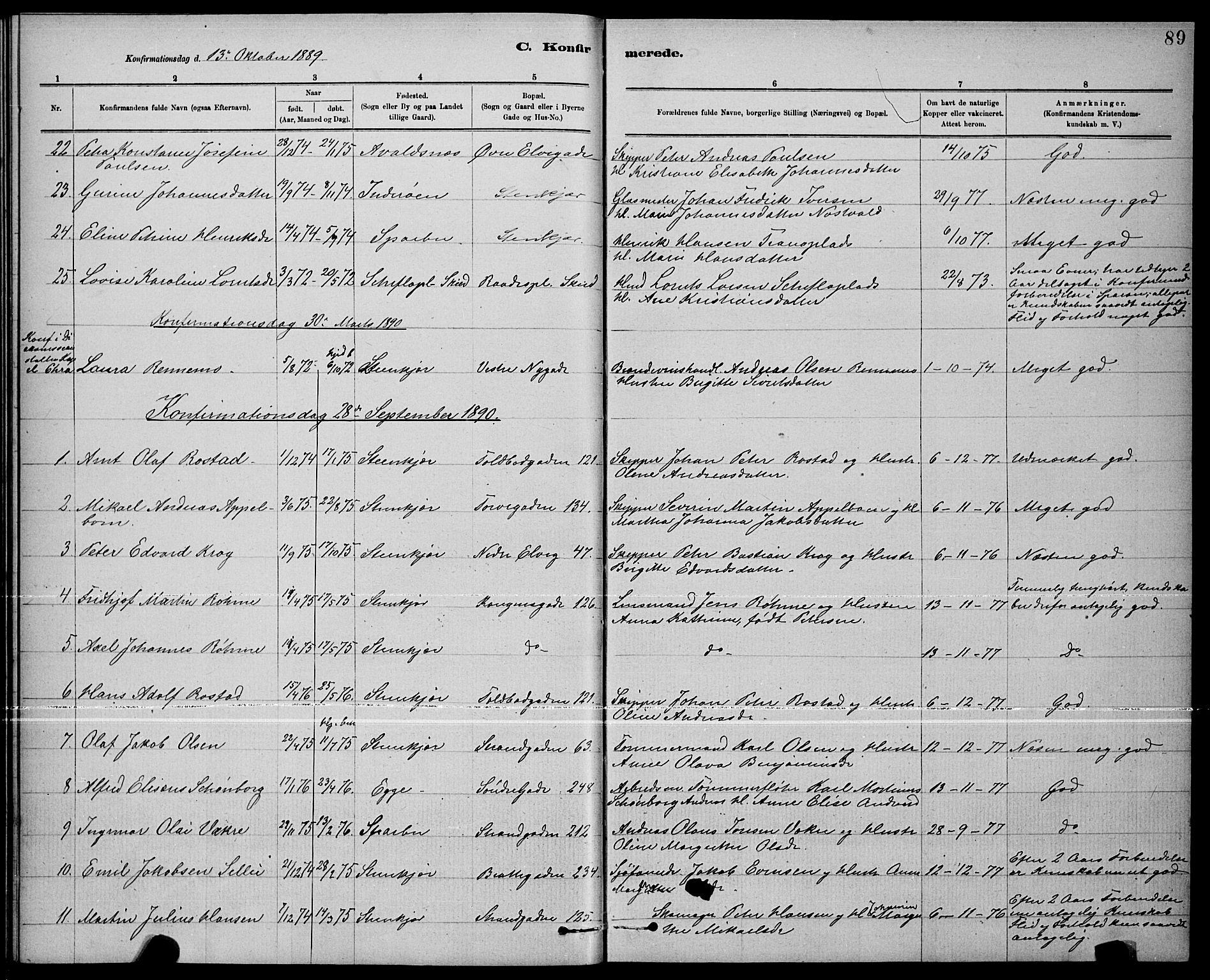 SAT, Ministerialprotokoller, klokkerbøker og fødselsregistre - Nord-Trøndelag, 739/L0374: Klokkerbok nr. 739C02, 1883-1898, s. 89