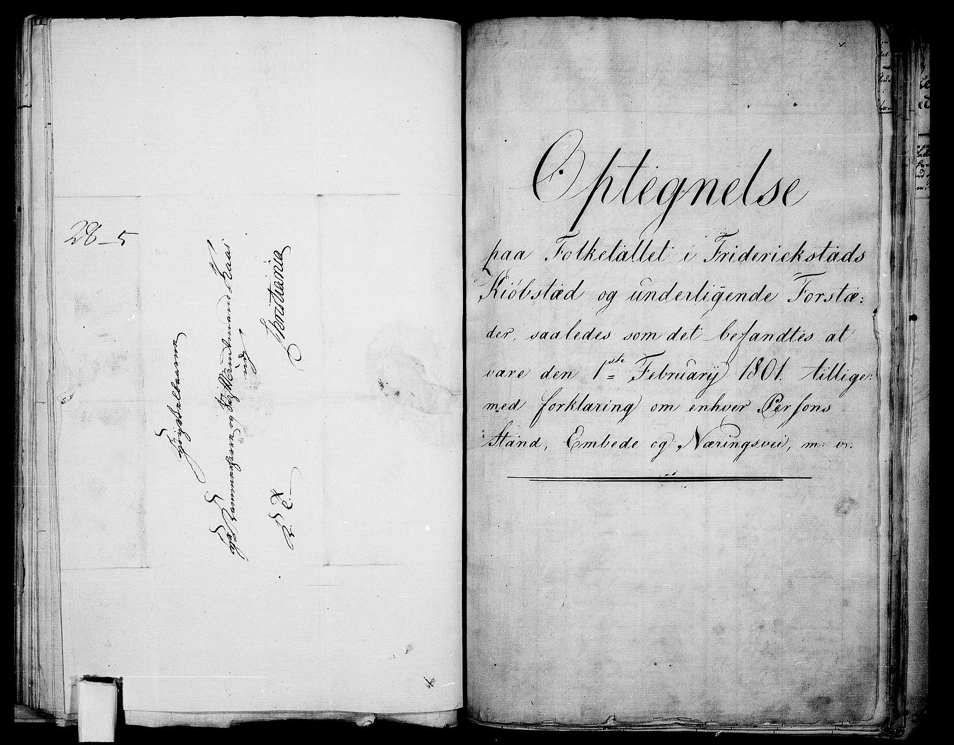 RA, Folketelling 1801 for 0103P Fredrikstad prestegjeld, 1801