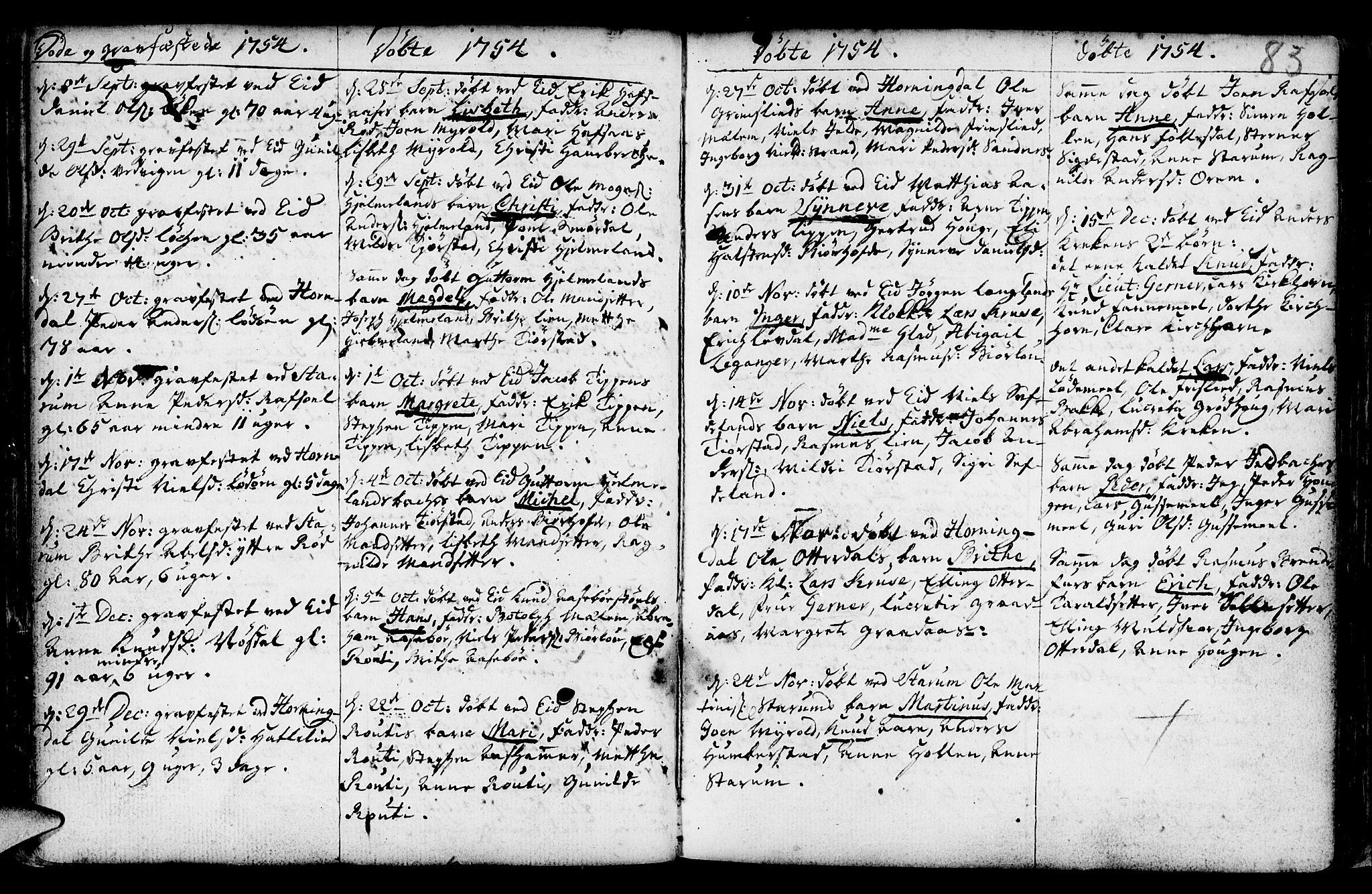 SAB, Eid Sokneprestembete, H/Haa: Ministerialbok nr. A 2, 1741-1769, s. 83