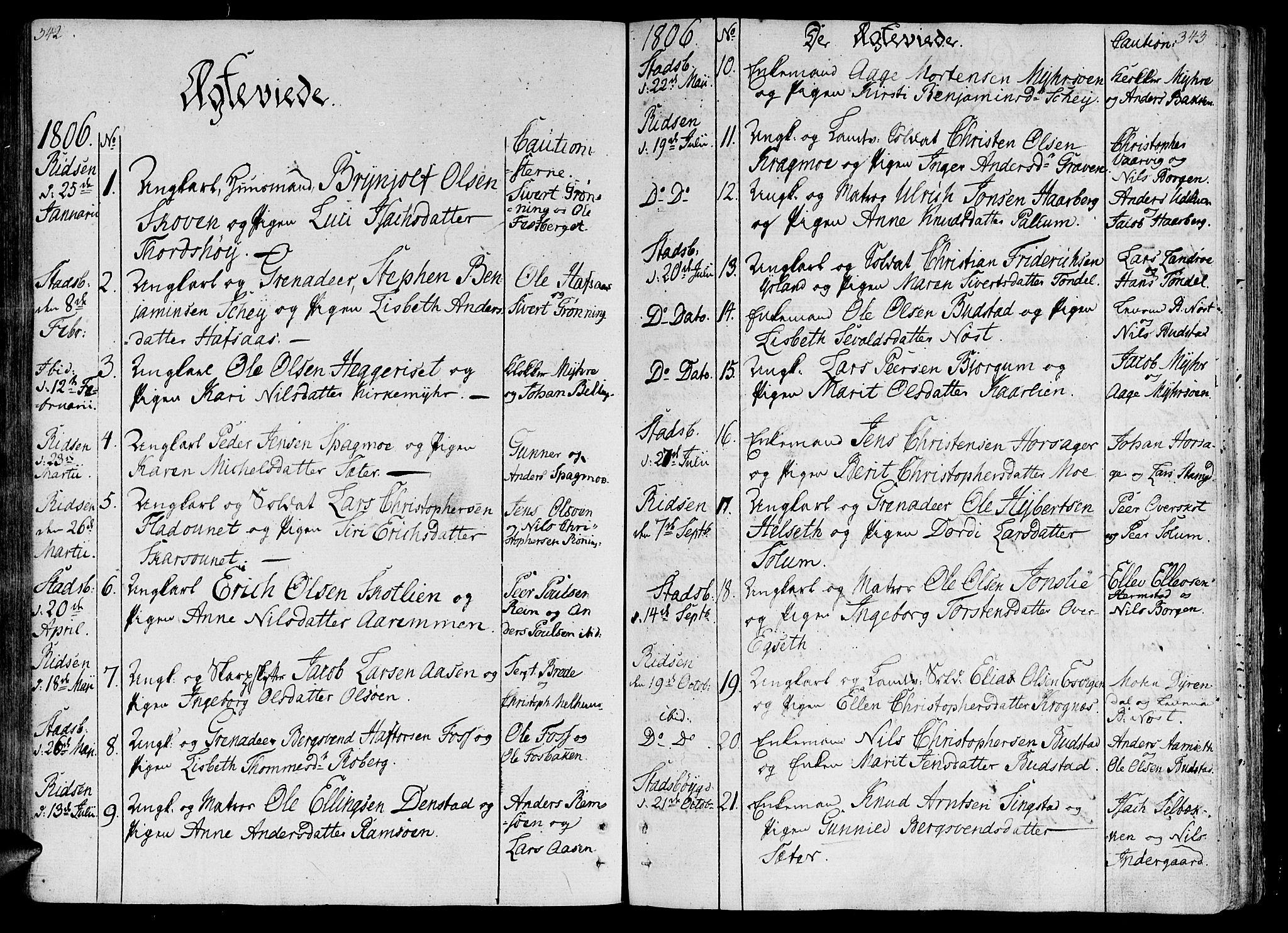 SAT, Ministerialprotokoller, klokkerbøker og fødselsregistre - Sør-Trøndelag, 646/L0607: Ministerialbok nr. 646A05, 1806-1815, s. 342-343