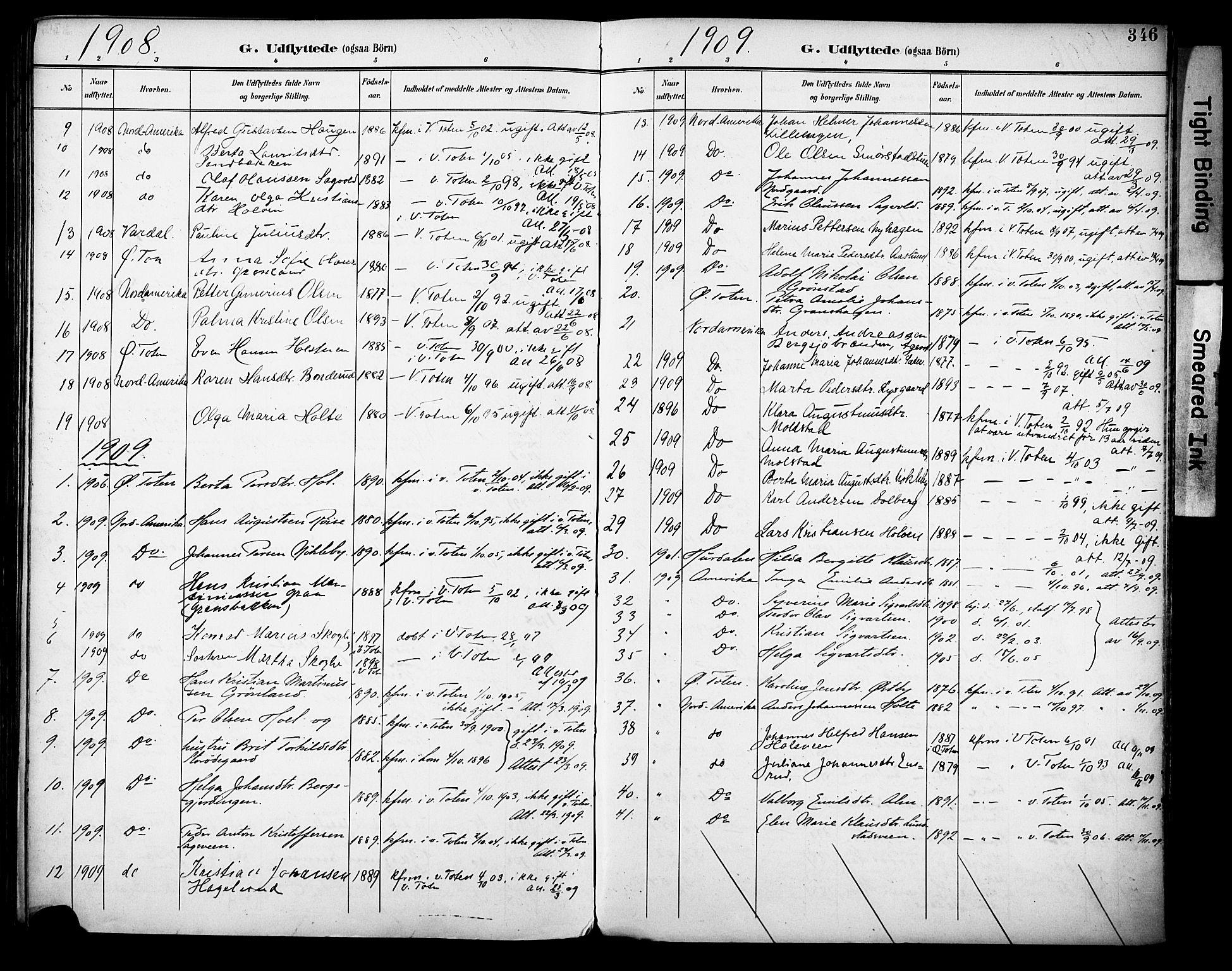 SAH, Vestre Toten prestekontor, H/Ha/Haa/L0013: Ministerialbok nr. 13, 1895-1911, s. 346