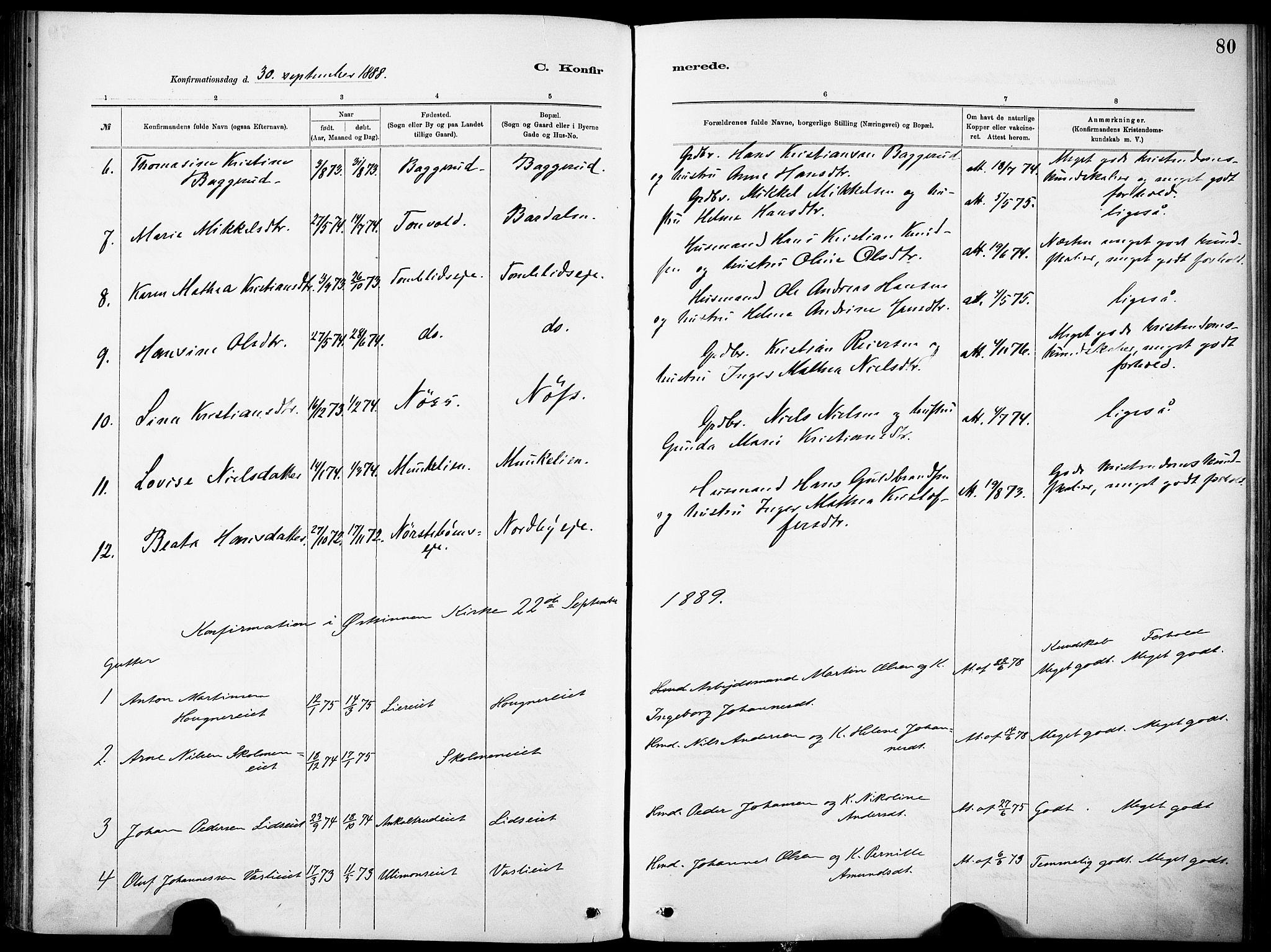 SAH, Nordre Land prestekontor, Ministerialbok nr. 5, 1882-1903, s. 80