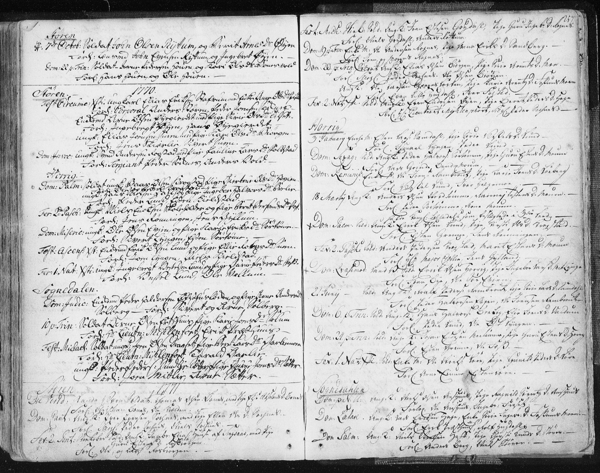 SAT, Ministerialprotokoller, klokkerbøker og fødselsregistre - Sør-Trøndelag, 687/L0991: Ministerialbok nr. 687A02, 1747-1790, s. 257