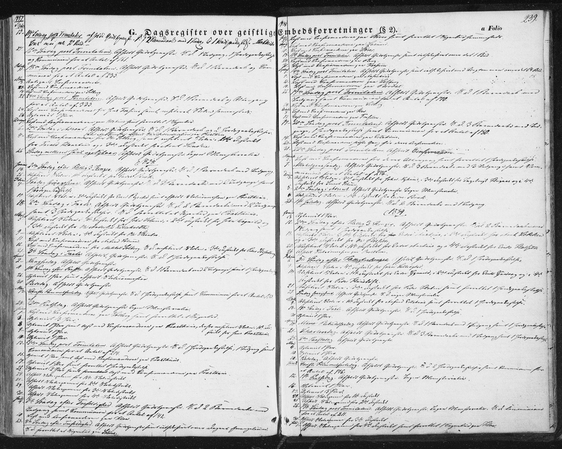SAT, Ministerialprotokoller, klokkerbøker og fødselsregistre - Sør-Trøndelag, 689/L1038: Ministerialbok nr. 689A03, 1848-1872, s. 239
