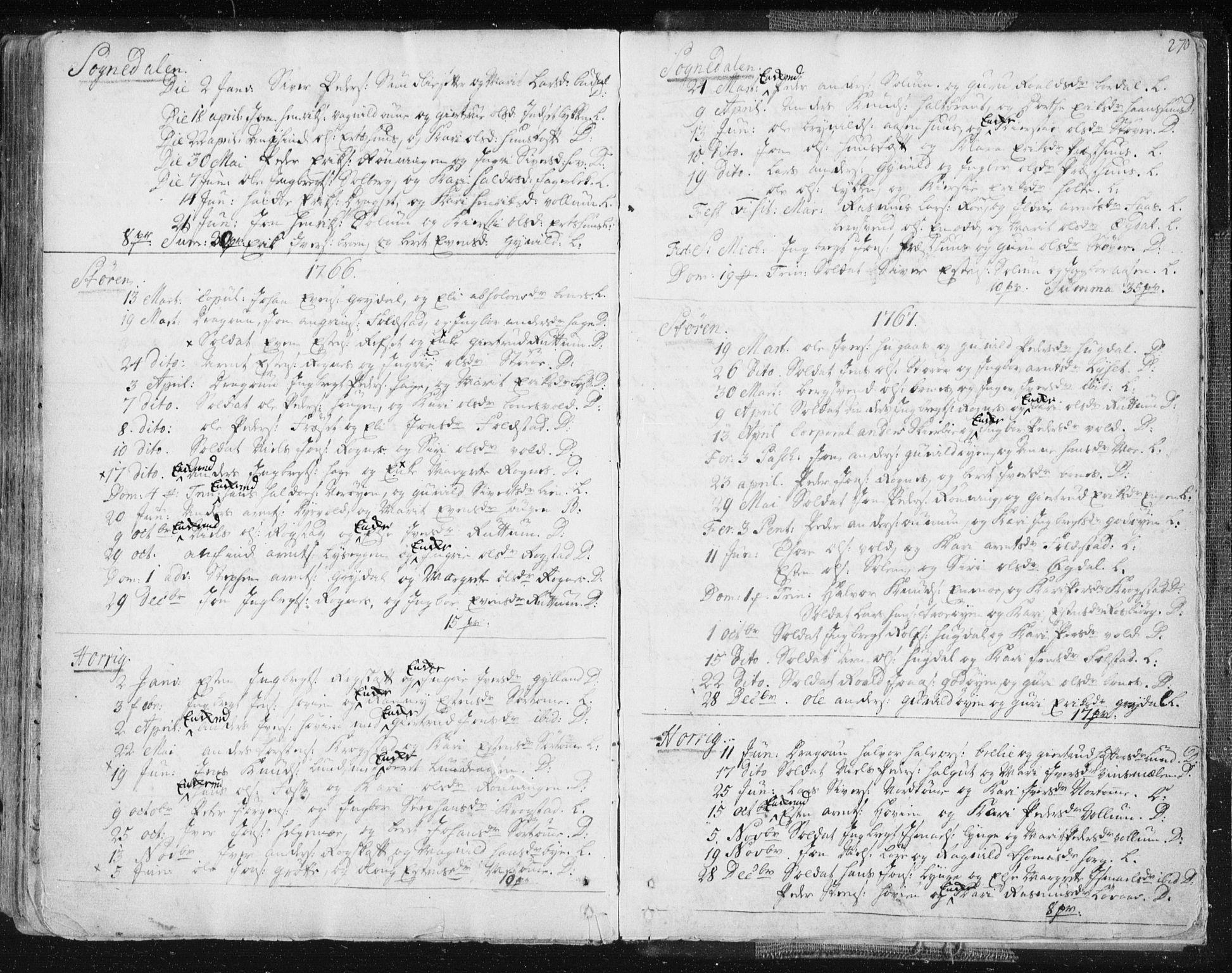 SAT, Ministerialprotokoller, klokkerbøker og fødselsregistre - Sør-Trøndelag, 687/L0991: Ministerialbok nr. 687A02, 1747-1790, s. 270