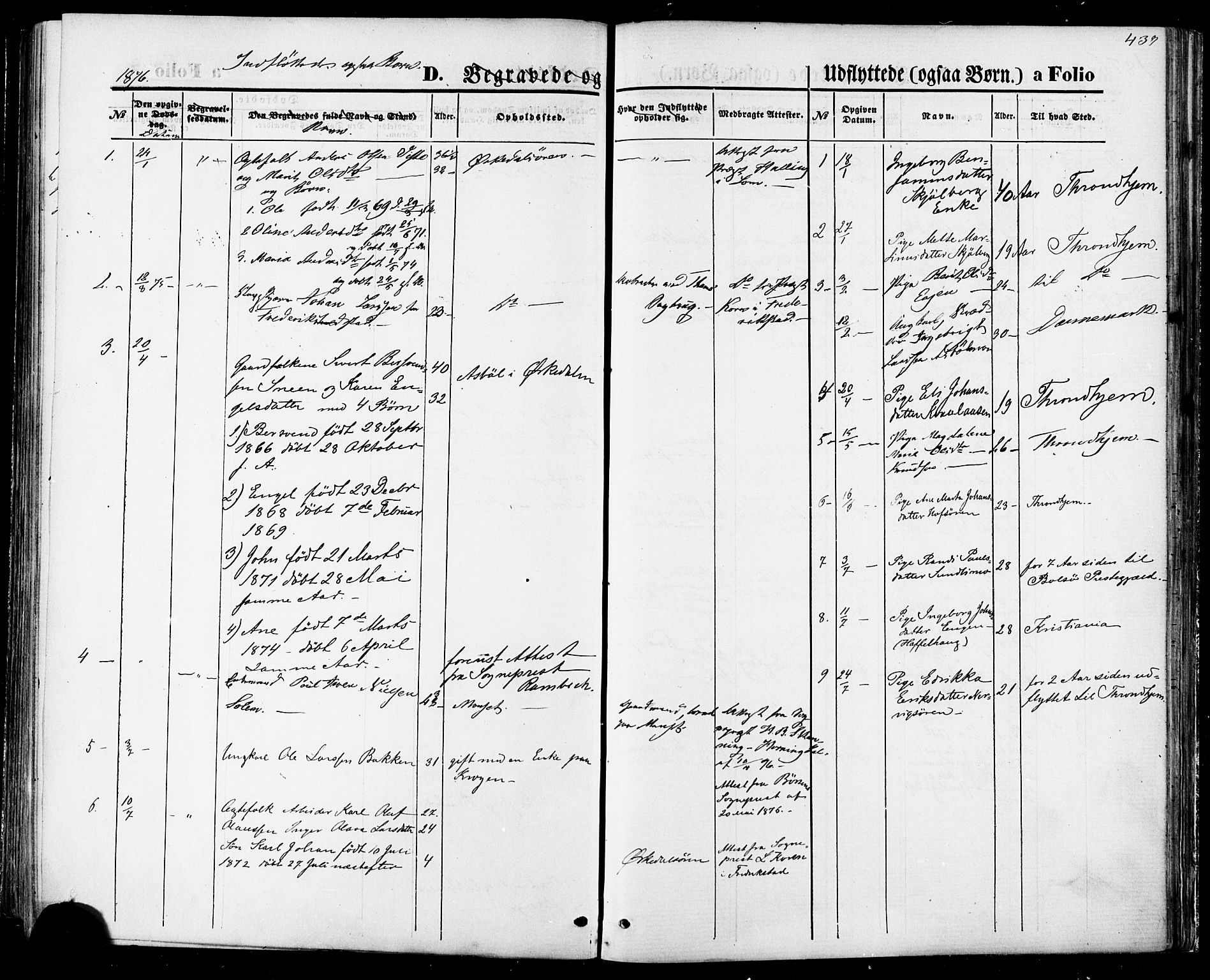 SAT, Ministerialprotokoller, klokkerbøker og fødselsregistre - Sør-Trøndelag, 668/L0807: Ministerialbok nr. 668A07, 1870-1880, s. 439