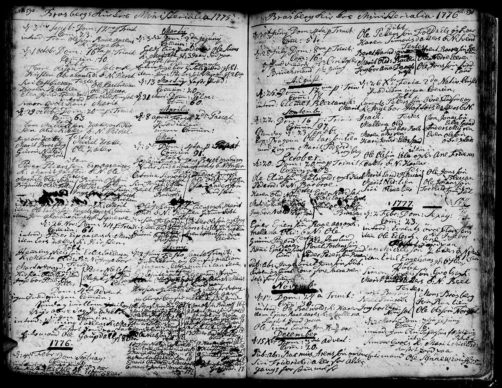 SAT, Ministerialprotokoller, klokkerbøker og fødselsregistre - Sør-Trøndelag, 606/L0278: Ministerialbok nr. 606A01 /4, 1727-1780, s. 590-591
