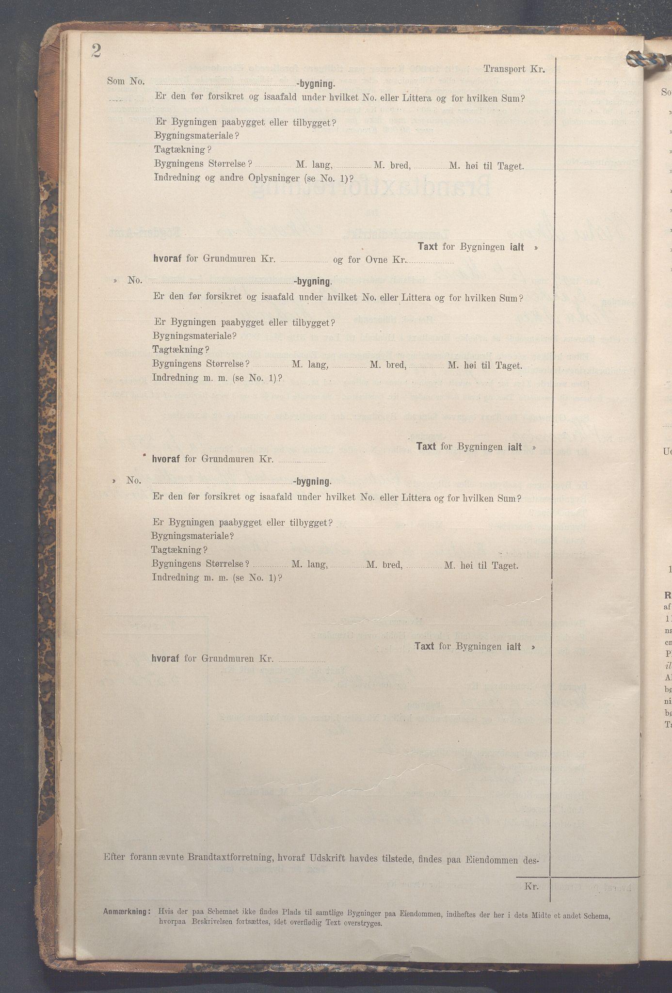 OBA, Lensmennene i Aker, F/Fa/L0014: Branntakstprotokoll, 1909-1921, s. 2