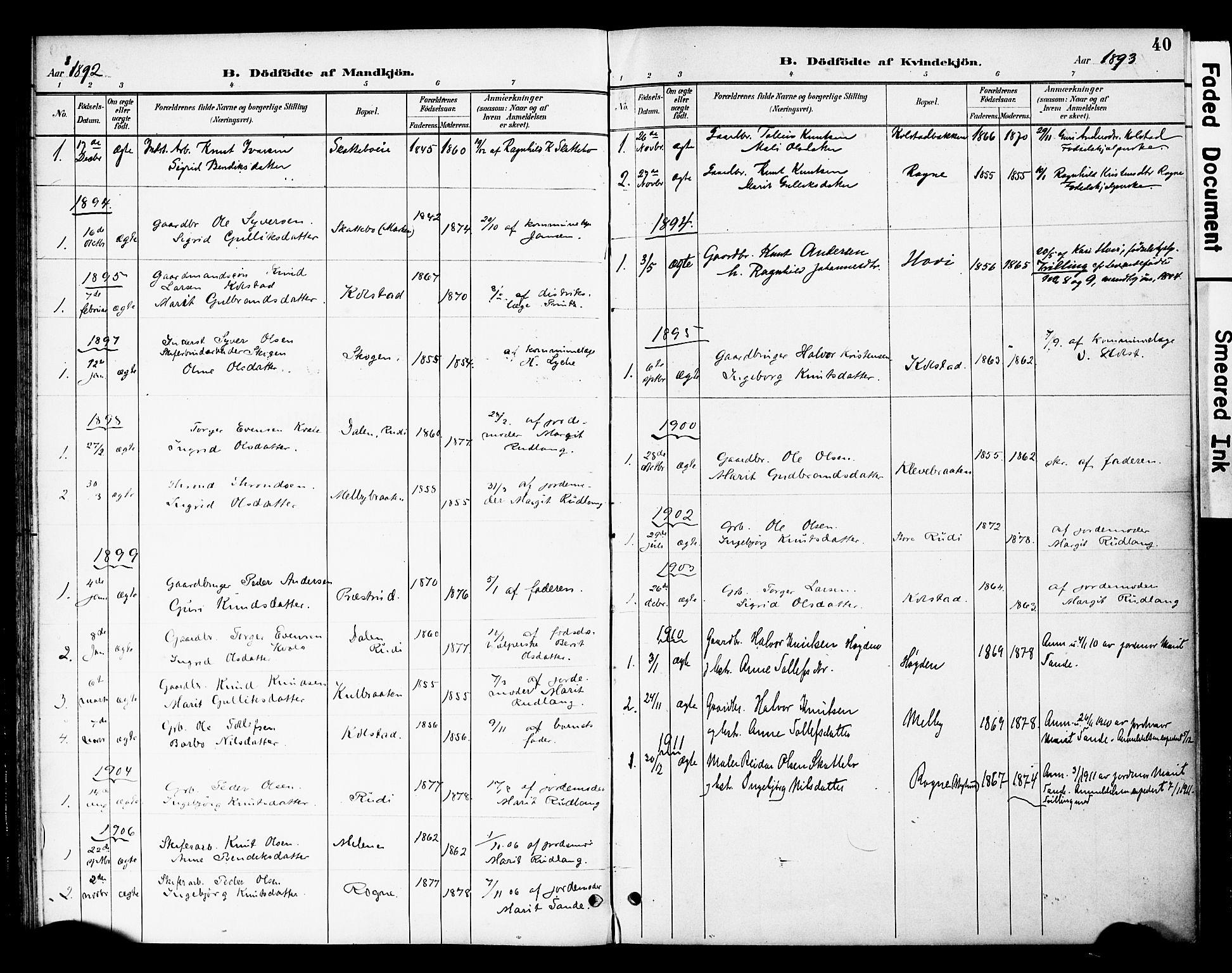 SAH, Øystre Slidre prestekontor, Ministerialbok nr. 3, 1887-1910, s. 40