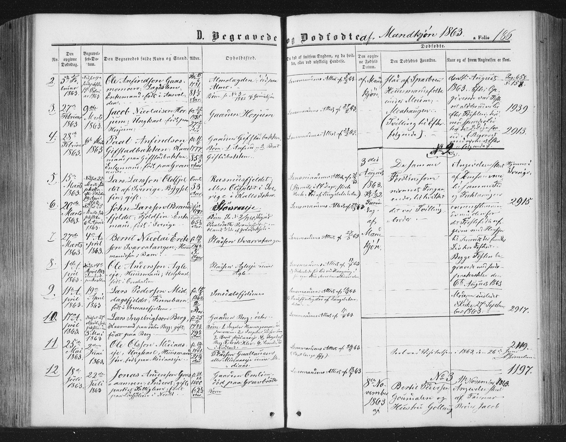 SAT, Ministerialprotokoller, klokkerbøker og fødselsregistre - Nord-Trøndelag, 749/L0472: Ministerialbok nr. 749A06, 1857-1873, s. 186