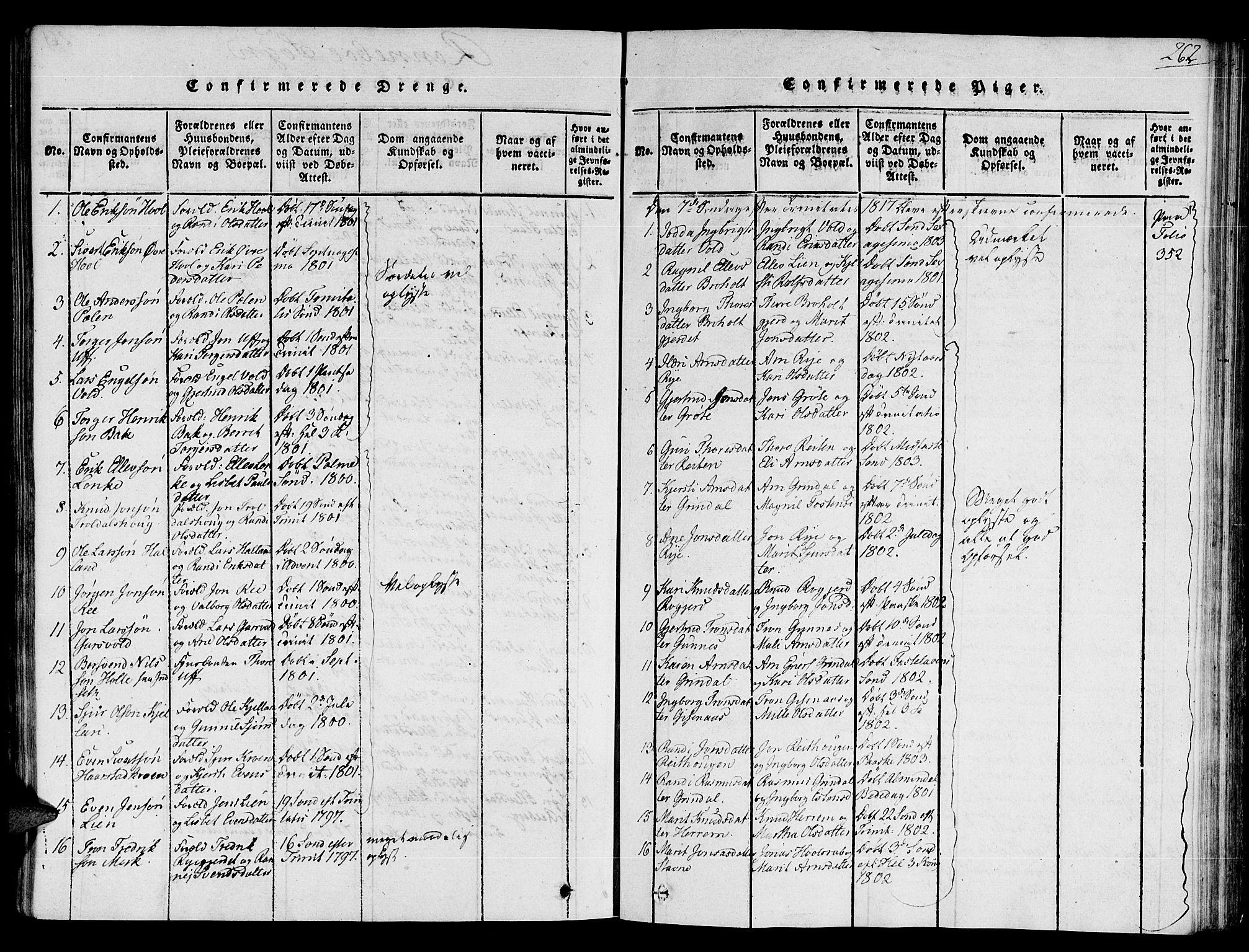 SAT, Ministerialprotokoller, klokkerbøker og fødselsregistre - Sør-Trøndelag, 672/L0854: Ministerialbok nr. 672A06 /2, 1816-1829, s. 262