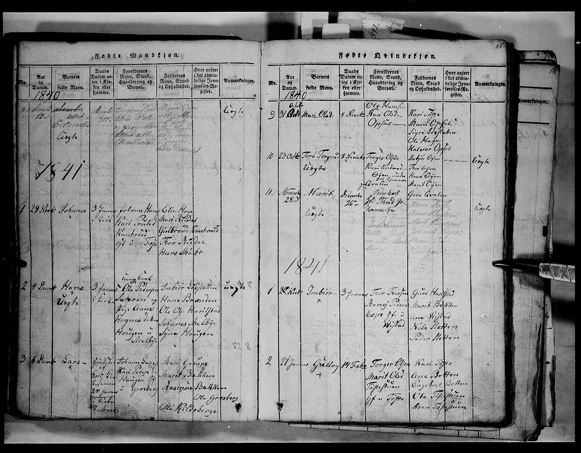 SAH, Fron prestekontor, H/Ha/Hab/L0003: Klokkerbok nr. 3, 1816-1850, s. 65