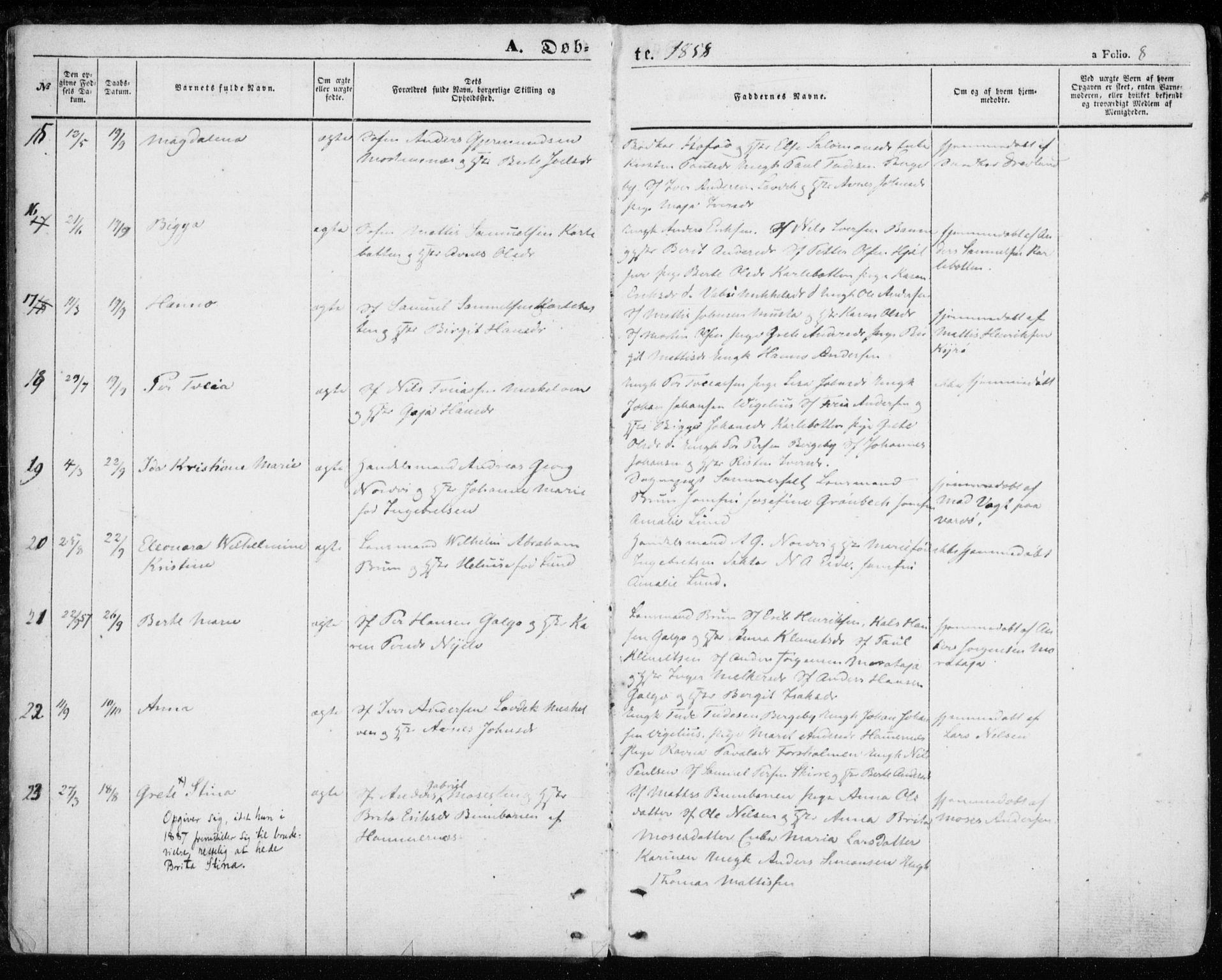 SATØ, Nesseby sokneprestkontor, H/Ha/L0002kirke: Ministerialbok nr. 2, 1856-1864, s. 8