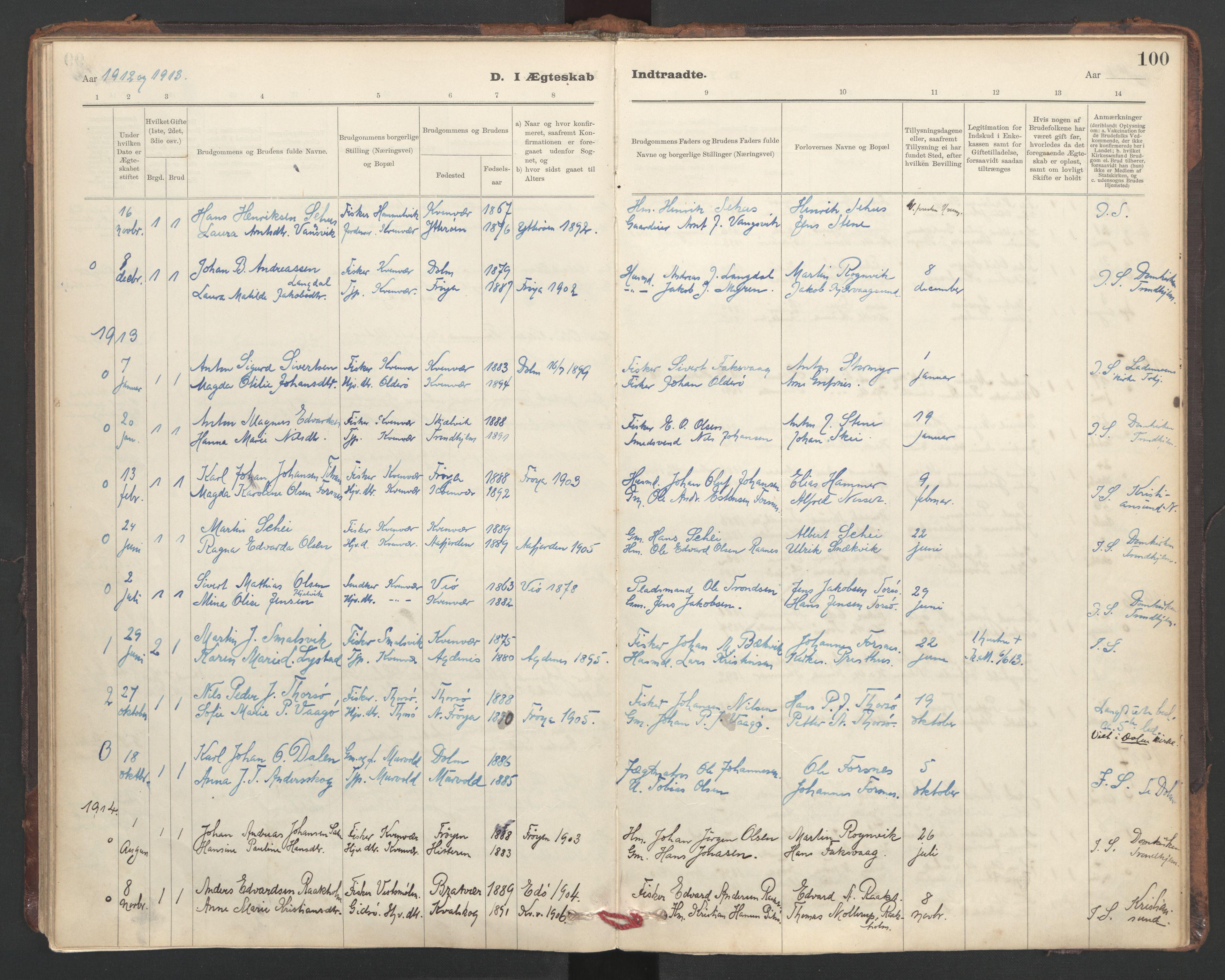 SAT, Ministerialprotokoller, klokkerbøker og fødselsregistre - Sør-Trøndelag, 635/L0552: Ministerialbok nr. 635A02, 1899-1919, s. 100
