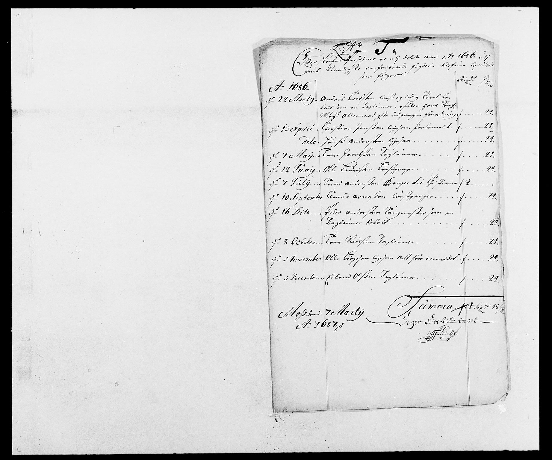RA, Rentekammeret inntil 1814, Reviderte regnskaper, Fogderegnskap, R02/L0105: Fogderegnskap Moss og Verne kloster, 1685-1687, s. 260