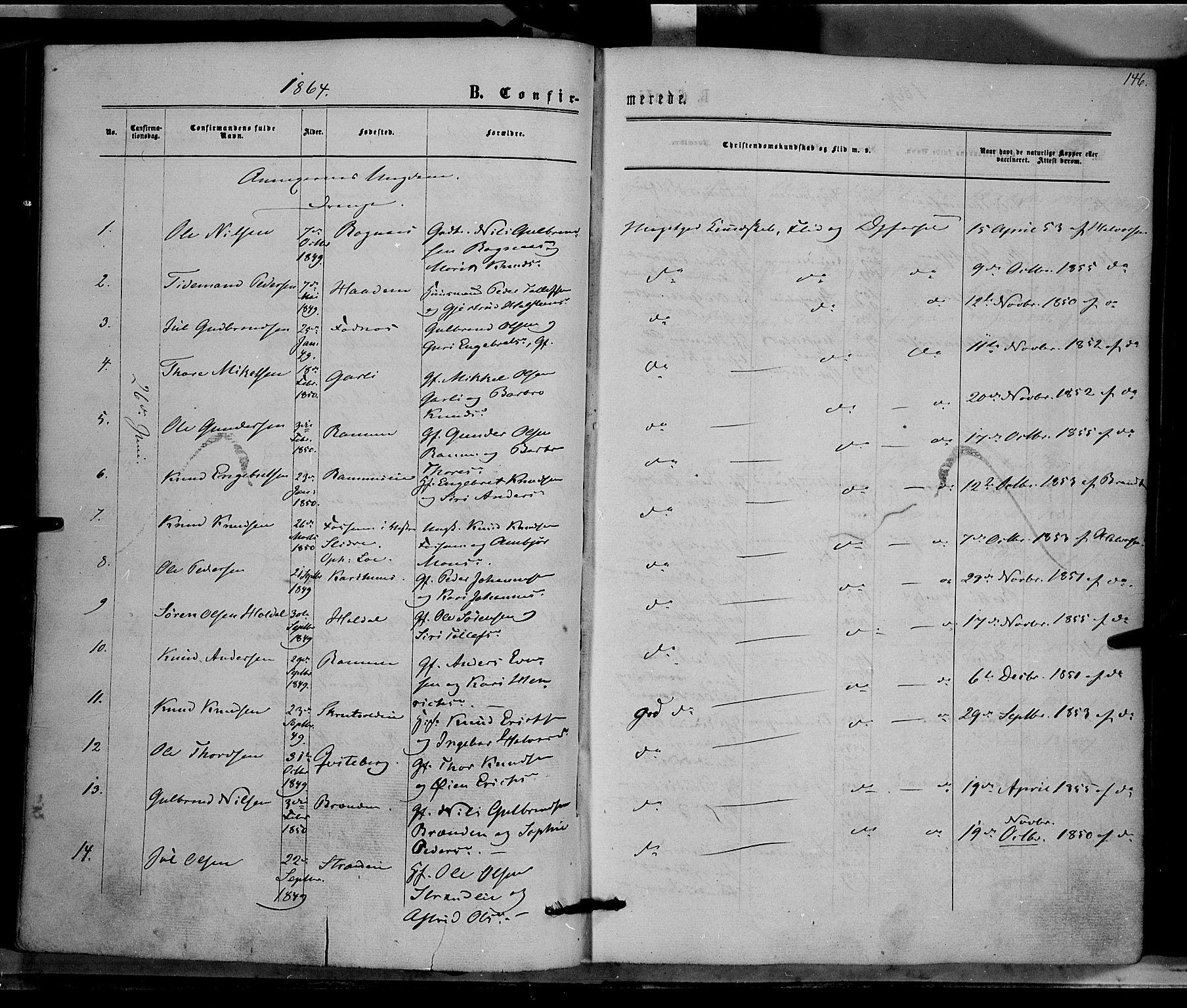 SAH, Nord-Aurdal prestekontor, Ministerialbok nr. 8, 1863-1875, s. 146