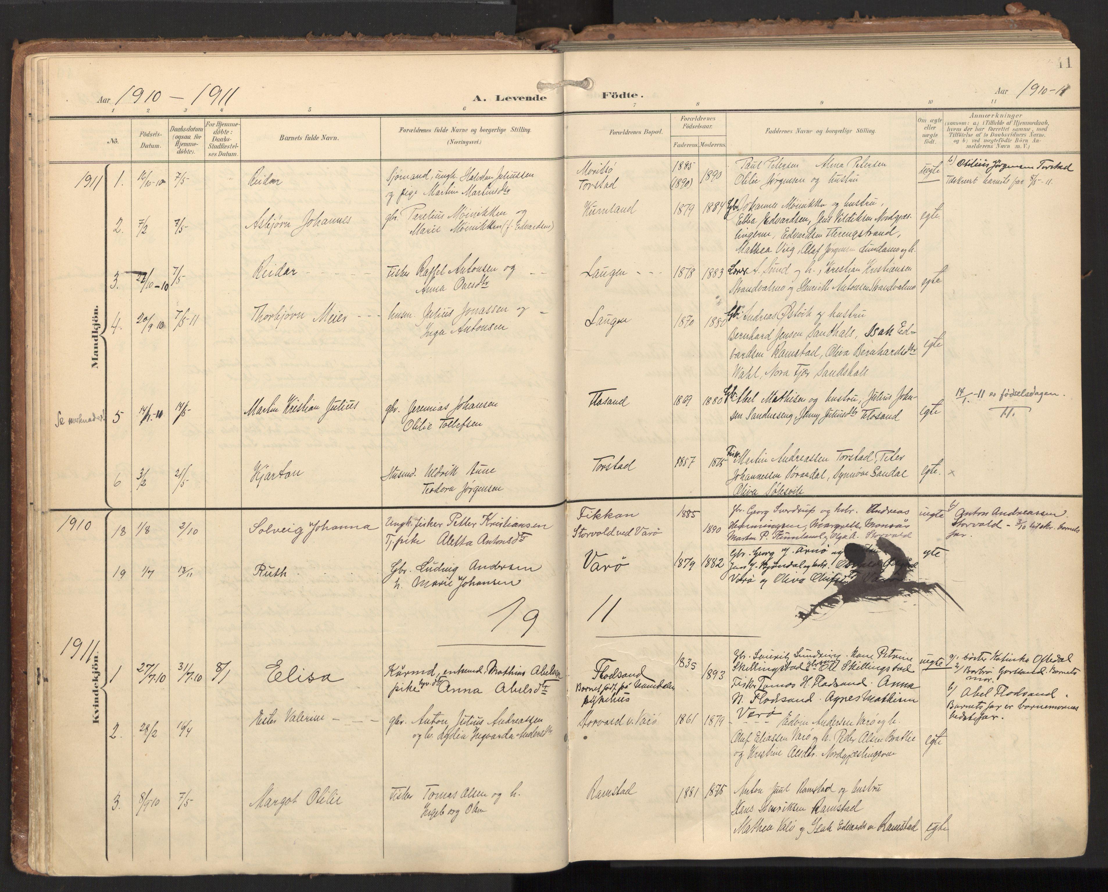SAT, Ministerialprotokoller, klokkerbøker og fødselsregistre - Nord-Trøndelag, 784/L0677: Ministerialbok nr. 784A12, 1900-1920, s. 41