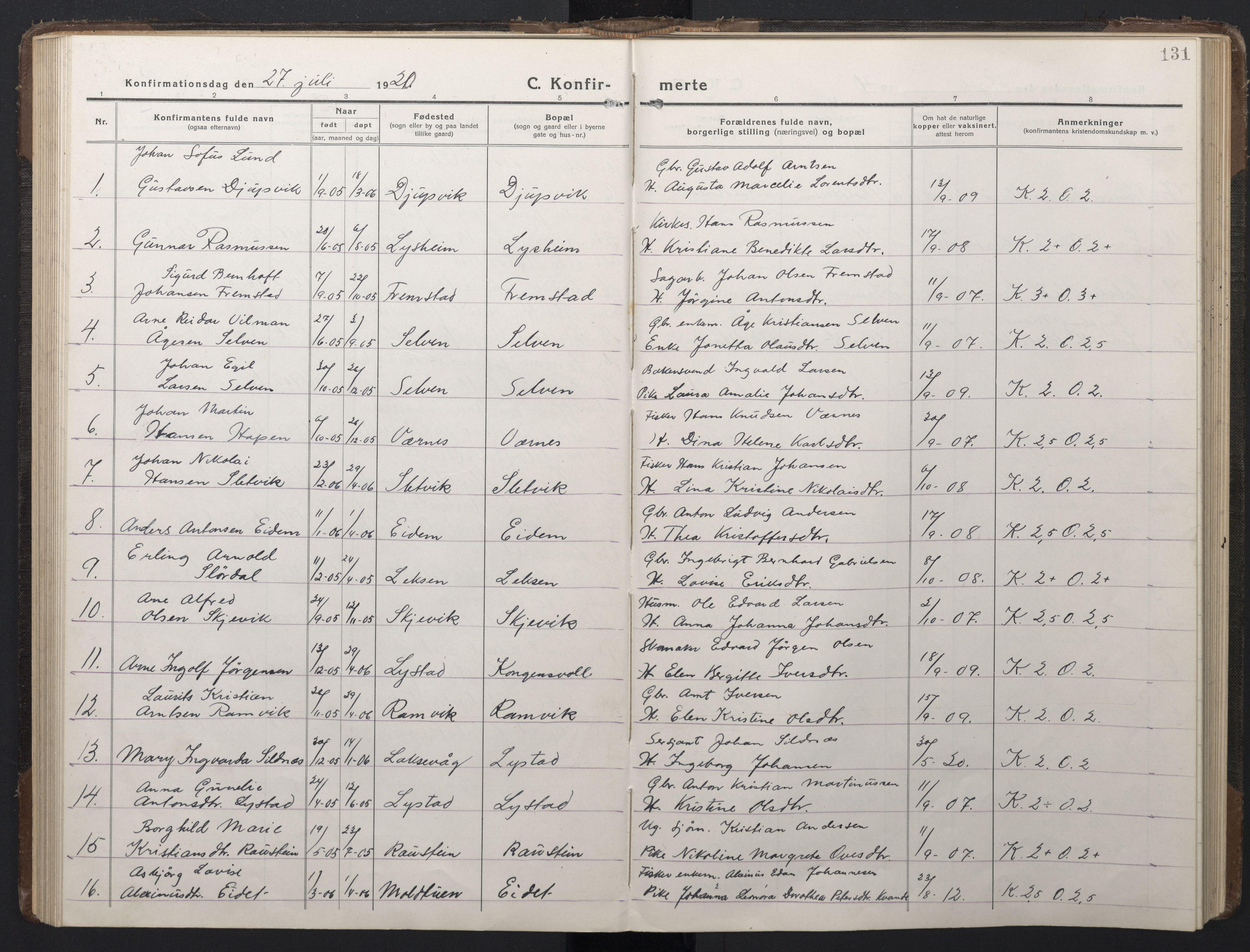 SAT, Ministerialprotokoller, klokkerbøker og fødselsregistre - Sør-Trøndelag, 662/L0758: Klokkerbok nr. 662C03, 1918-1948, s. 131