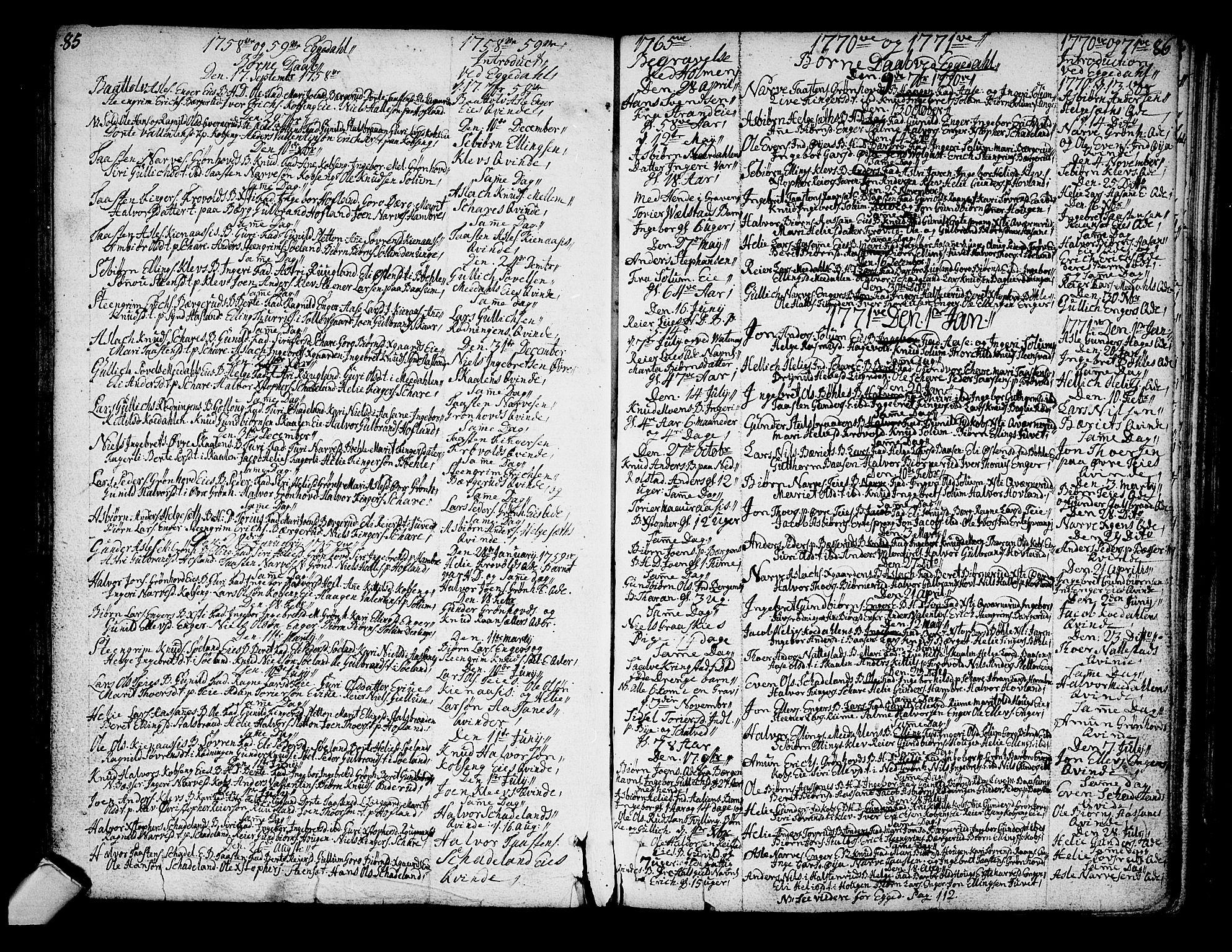 SAKO, Sigdal kirkebøker, F/Fa/L0001: Ministerialbok nr. I 1, 1722-1777, s. 85-86