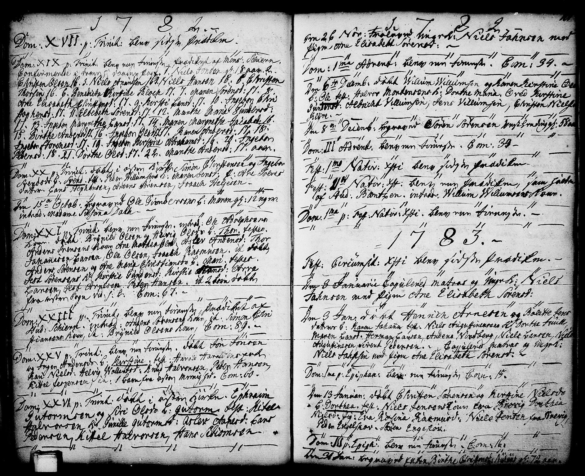 SAKO, Porsgrunn kirkebøker , F/Fa/L0001: Ministerialbok nr. 1, 1764-1814, s. 100-101