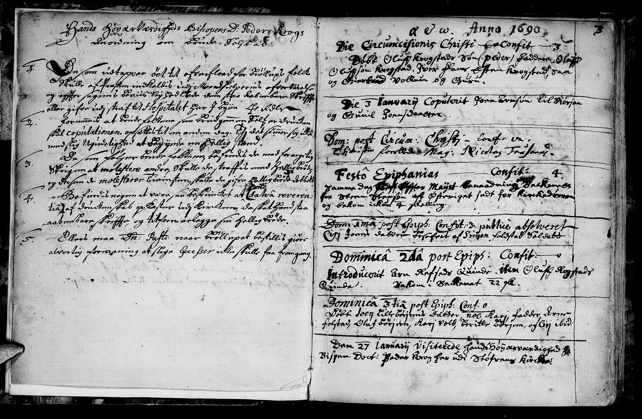 SAT, Ministerialprotokoller, klokkerbøker og fødselsregistre - Sør-Trøndelag, 687/L0990: Ministerialbok nr. 687A01, 1690-1746, s. 3