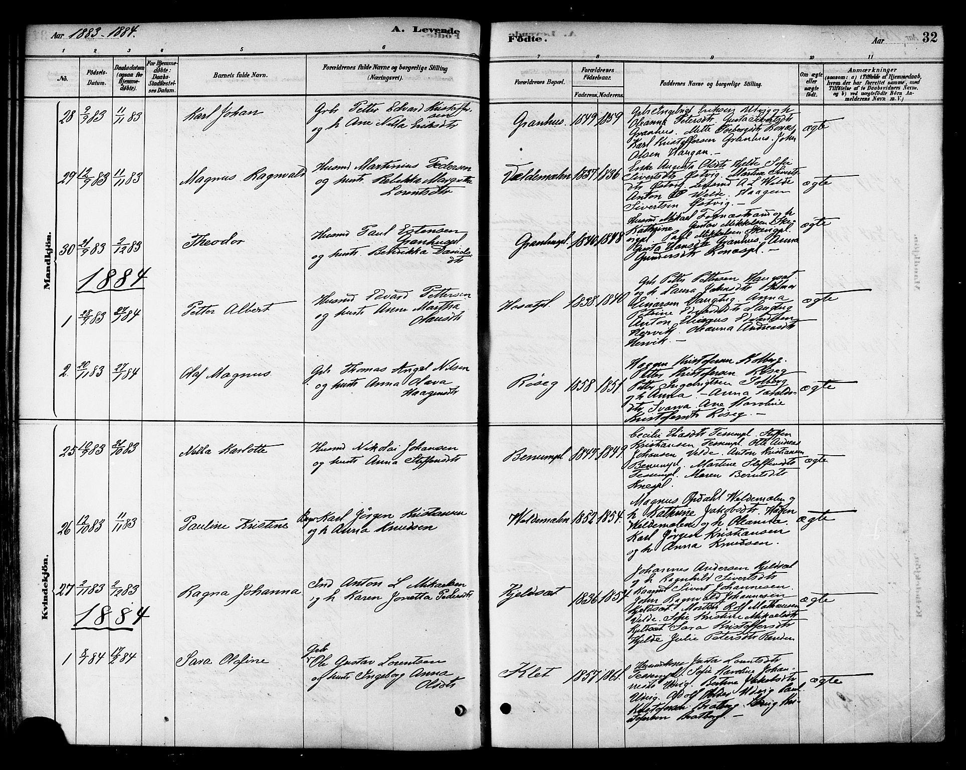 SAT, Ministerialprotokoller, klokkerbøker og fødselsregistre - Nord-Trøndelag, 741/L0395: Ministerialbok nr. 741A09, 1878-1888, s. 32