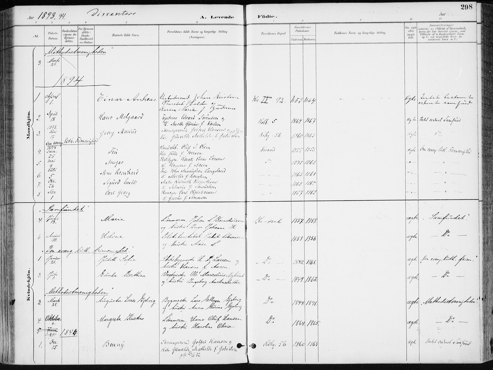 SAK, Kristiansand domprosti, F/Fa/L0019: Ministerialbok nr. A 18, 1890-1897, s. 298