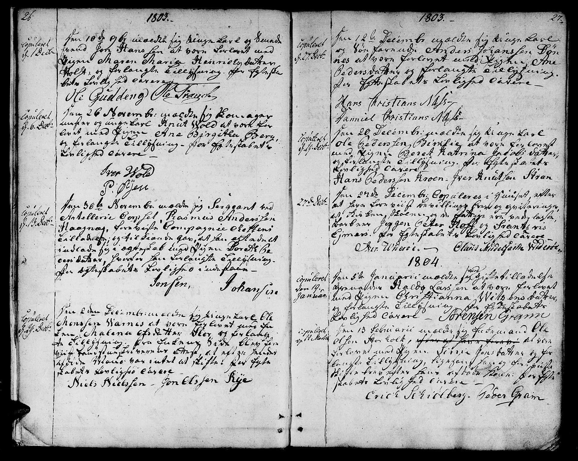 SAT, Ministerialprotokoller, klokkerbøker og fødselsregistre - Sør-Trøndelag, 601/L0042: Ministerialbok nr. 601A10, 1802-1830, s. 26-27