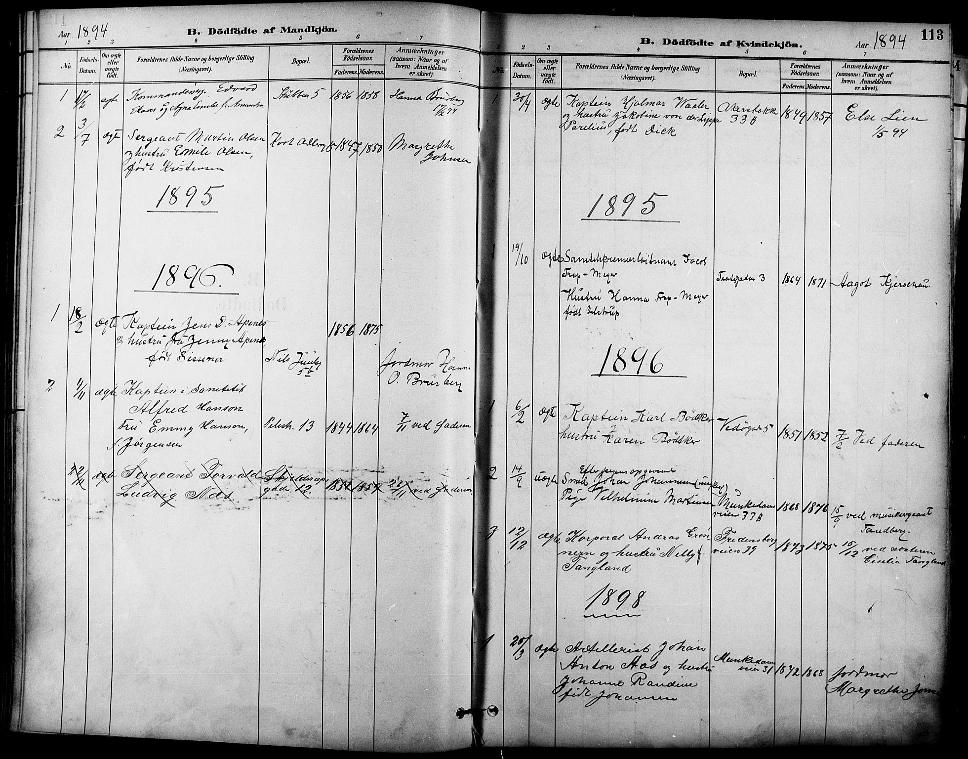 SAO, Garnisonsmenigheten Kirkebøker, F/Fa/L0013: Ministerialbok nr. 13, 1894-1904, s. 113
