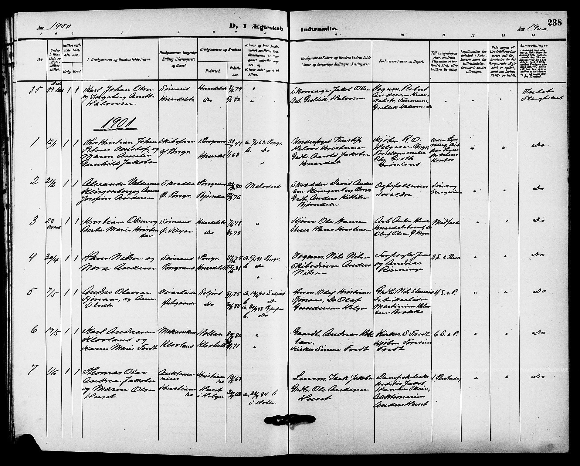 SAKO, Solum kirkebøker, G/Ga/L0008: Klokkerbok nr. I 8, 1898-1909, s. 238