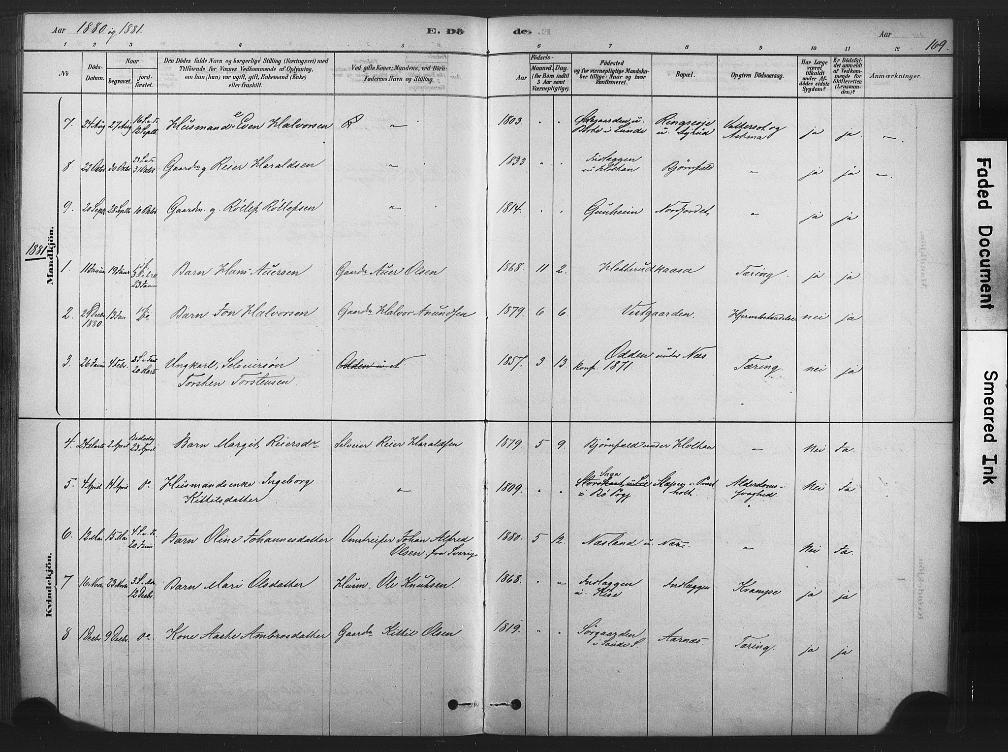SAKO, Sauherad kirkebøker, F/Fb/L0002: Ministerialbok nr. II 2, 1878-1901, s. 169