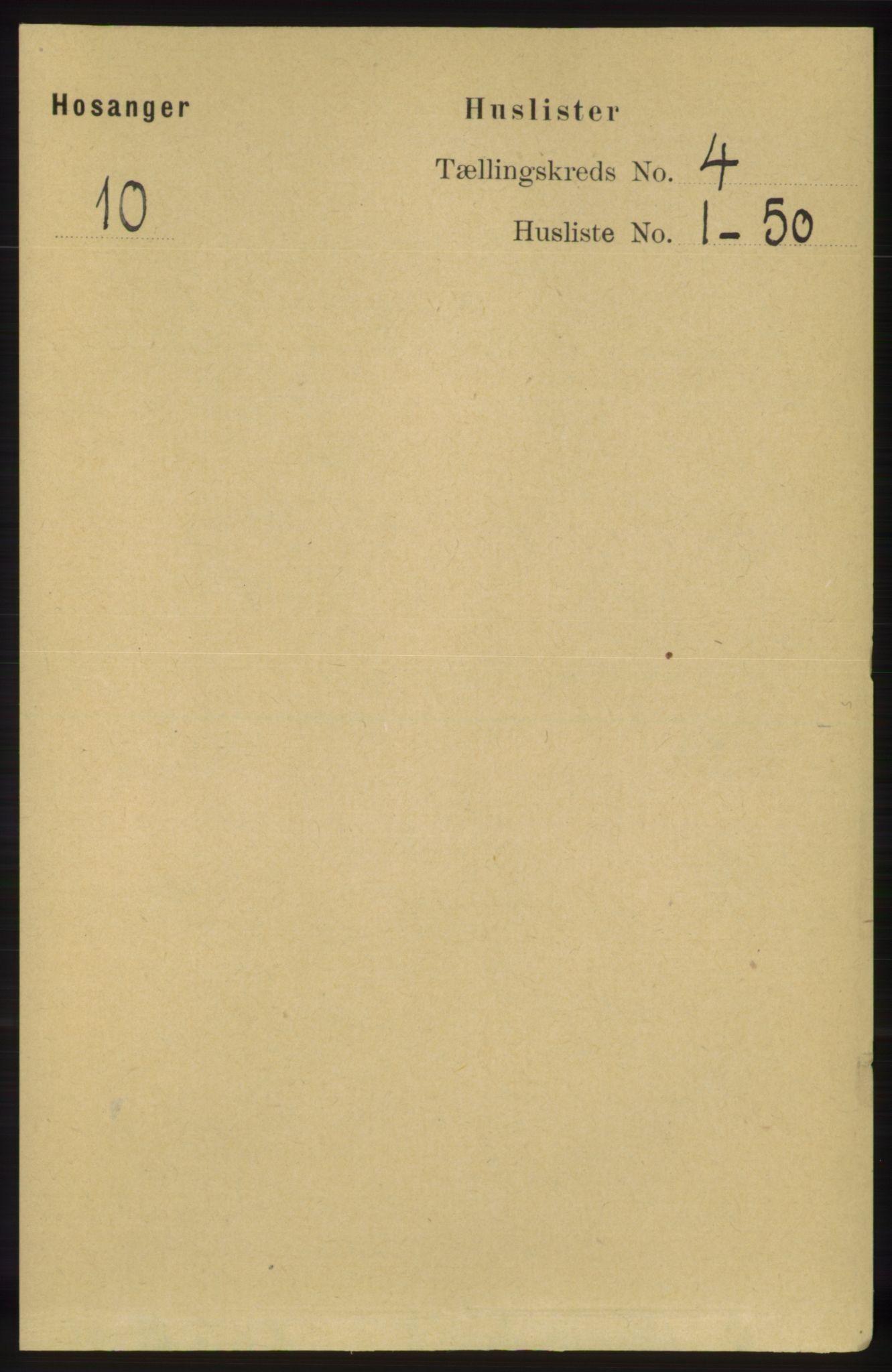 RA, Folketelling 1891 for 1253 Hosanger herred, 1891, s. 1388