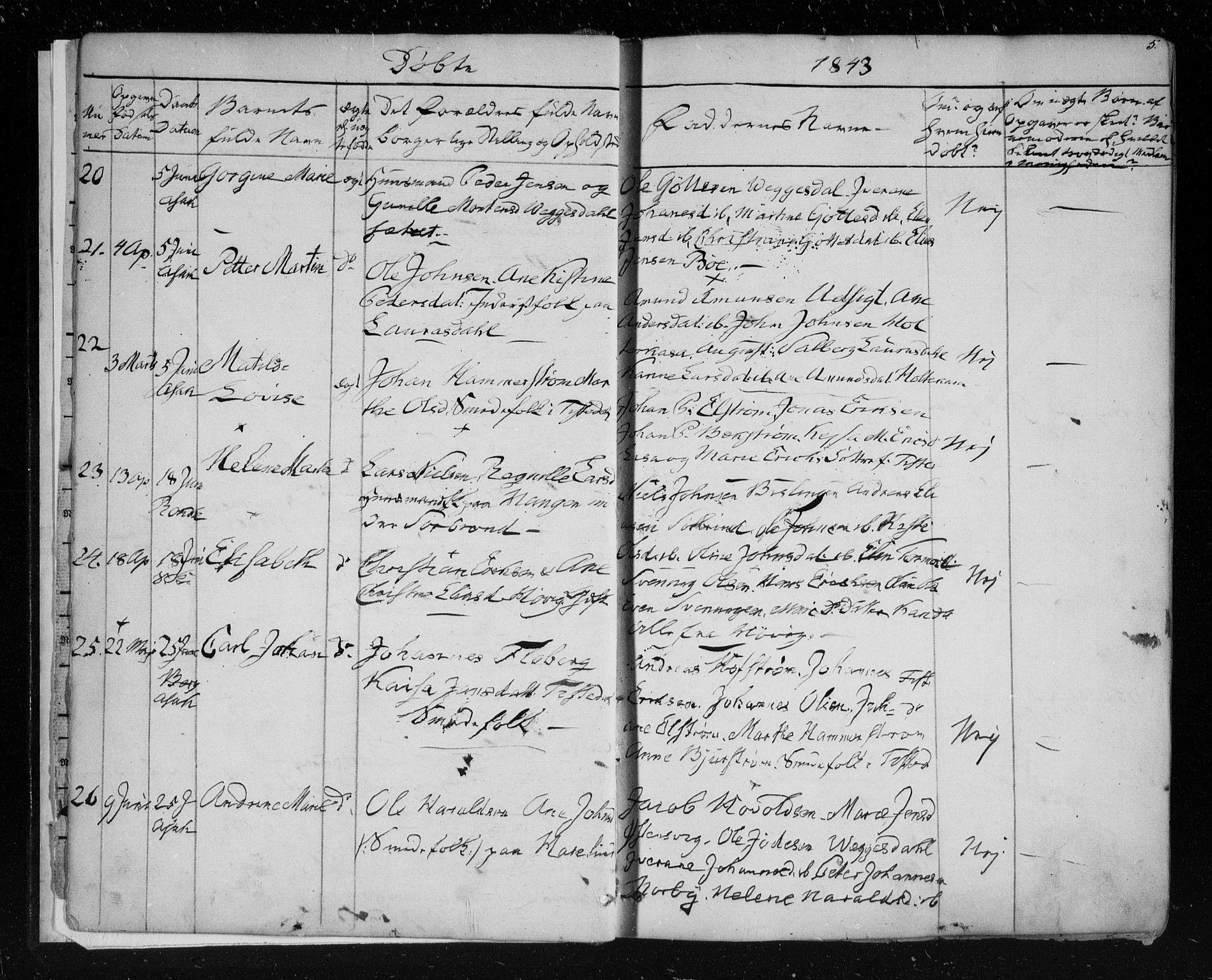 SAO, Berg prestekontor Kirkebøker, F/Fa/L0004: Ministerialbok nr. I 4, 1843-1860, s. 5